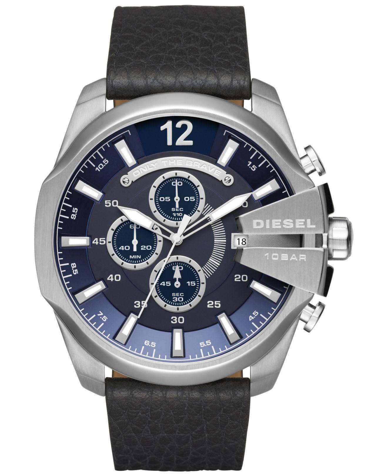 a6959228ec3 Lyst - DIESEL Men s Chronograph Mega Chief Black Leather Strap Watch ...