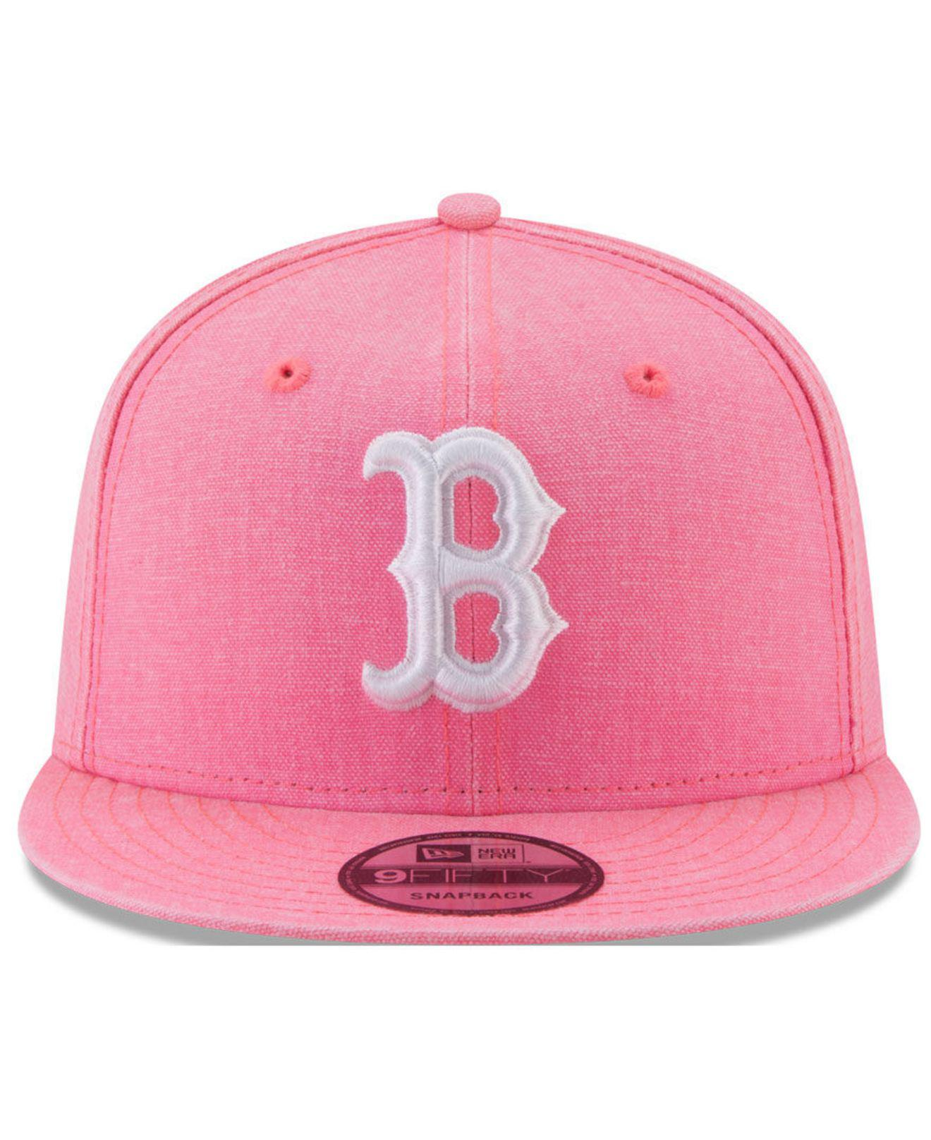 watch e113c 4302b ... cheapest lyst ktz boston red sox neon time 9fifty snapback cap in pink  2e456 fbdaf