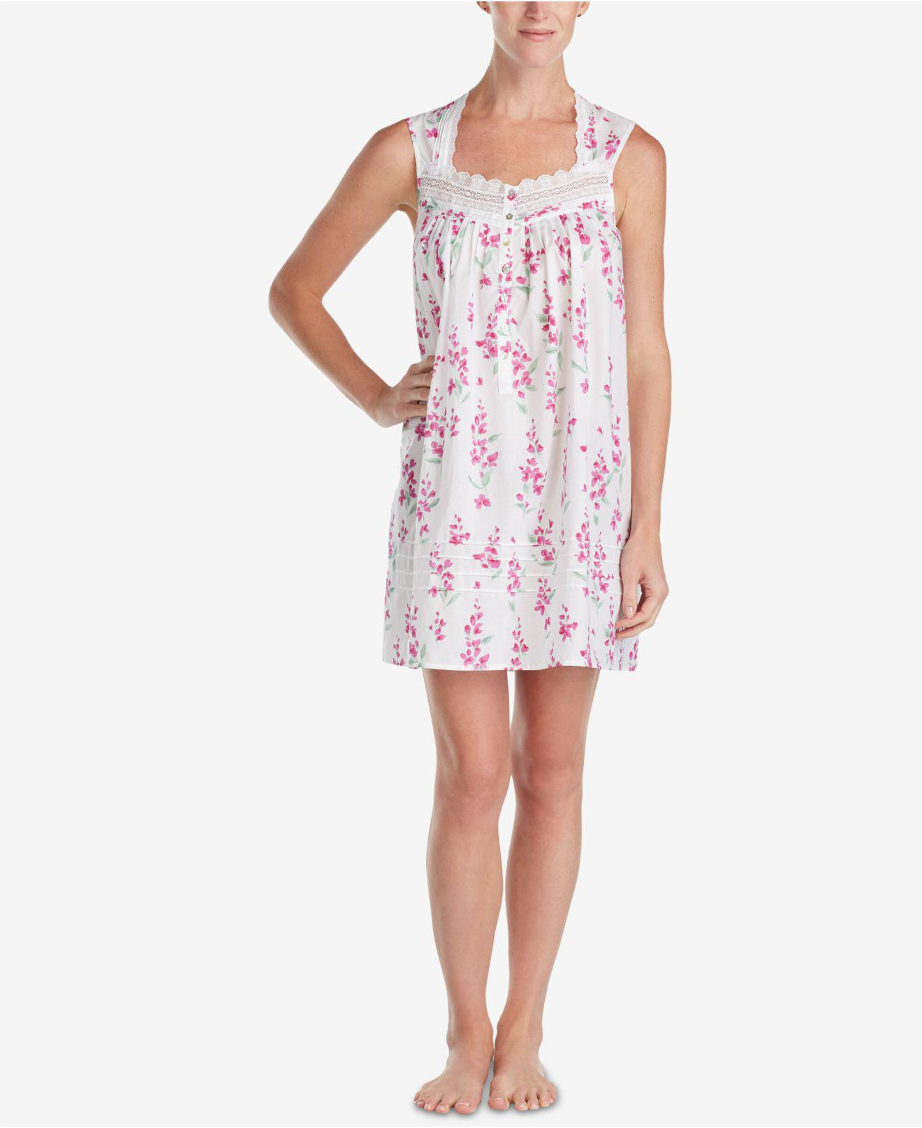 6b05f9d747 Lyst - Eileen West Lace-trim Woven Cotton Nightgown in Pink