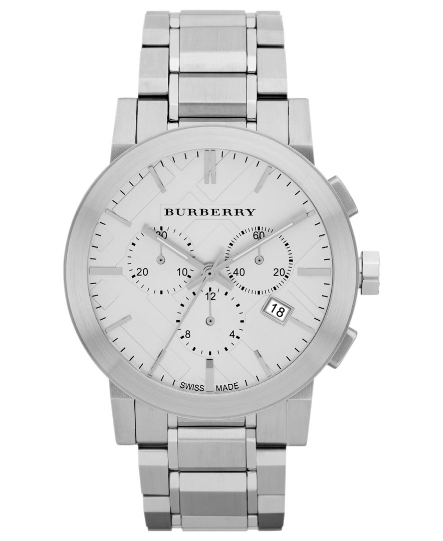 Burberry watch men 39 s swiss chronograph stainless steel bracelet 42mm bu9350 in metallic for men for Burberry watches