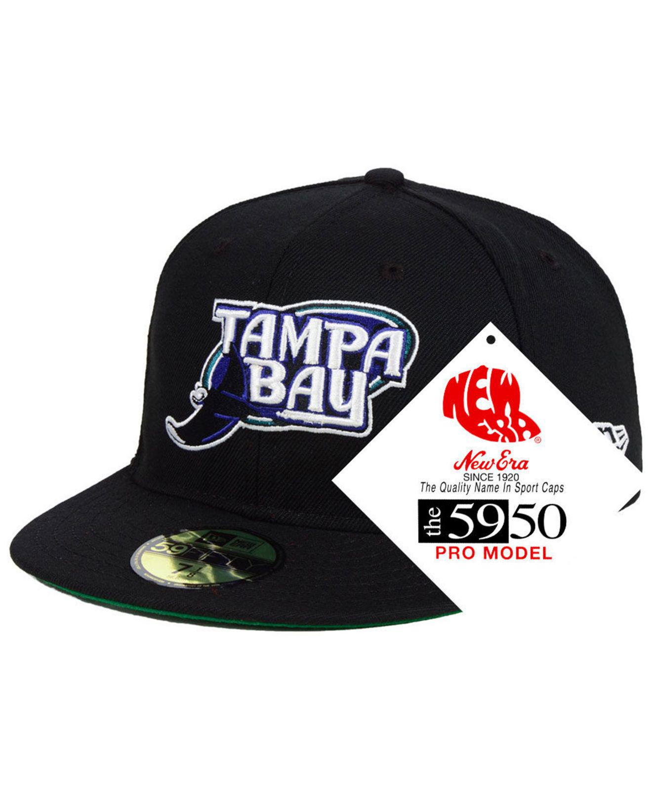 reputable site 6c683 5362f KTZ. Men s Black Tampa Bay Rays Retro Stock 59fifty Fitted Cap
