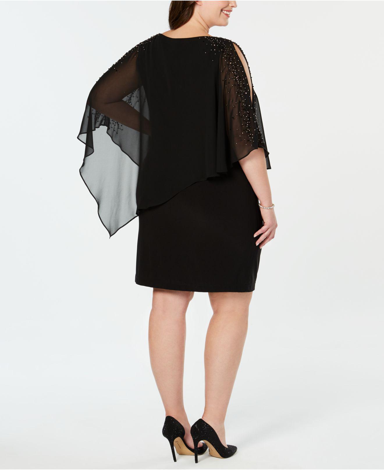 f21c8a4813f49 Lyst Xscape Long Sleeve Beaded Illusion Sheath Dress In Black