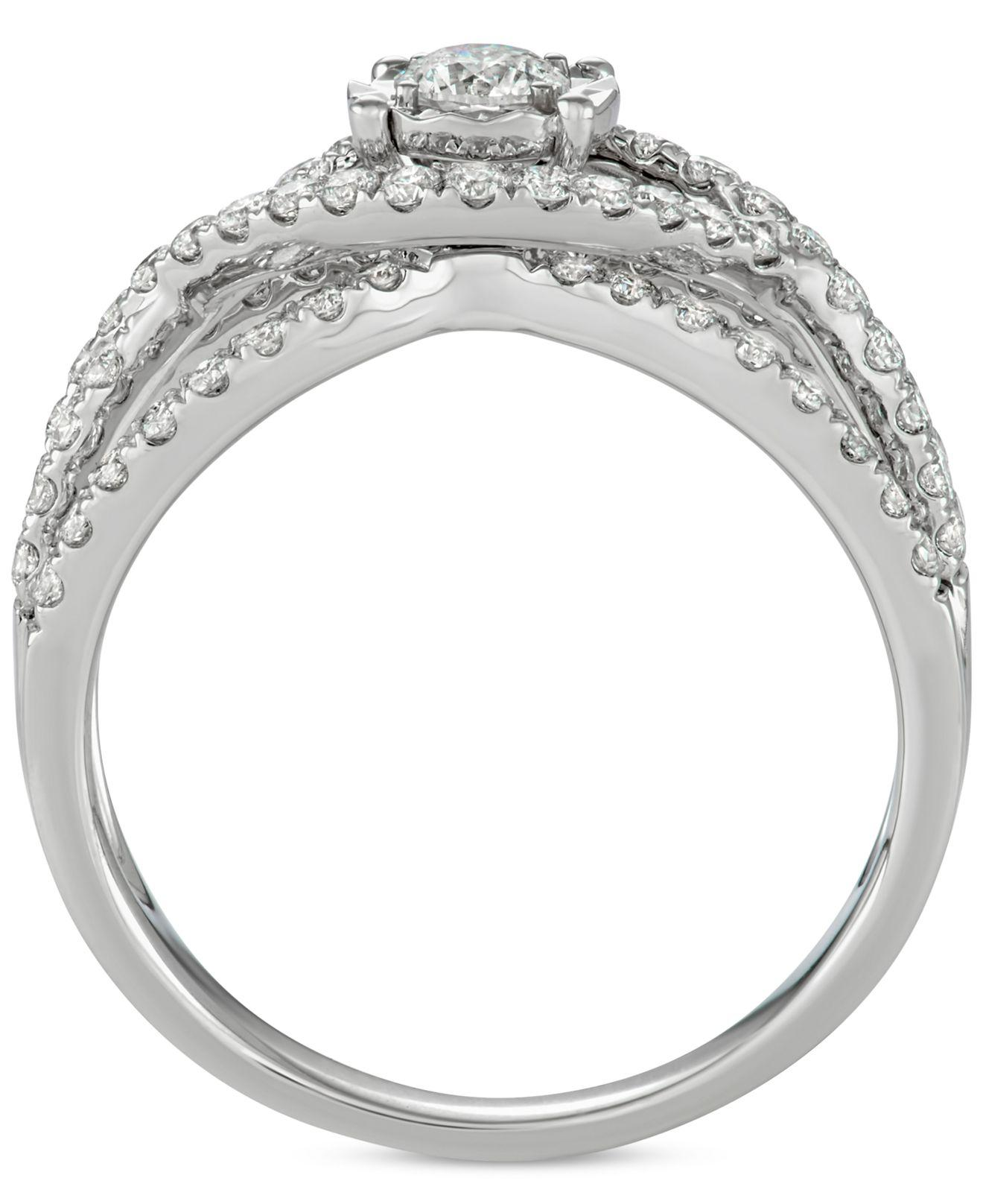 Macy s Diamond Weave Bridal Set 1 1 7 Ct T w In 14k White Gold