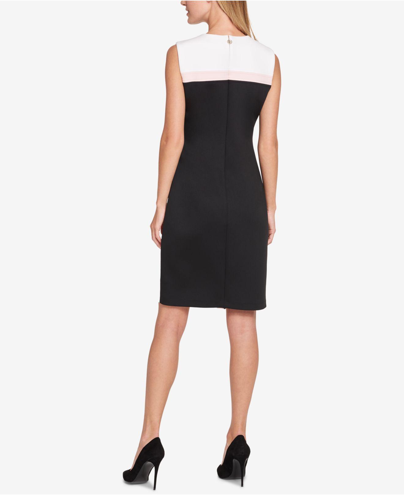 fa1b73801b5 Lyst - Tommy Hilfiger Petite Scuba Asymmetrical Hem Sheath Dress in Black -  Save 16%