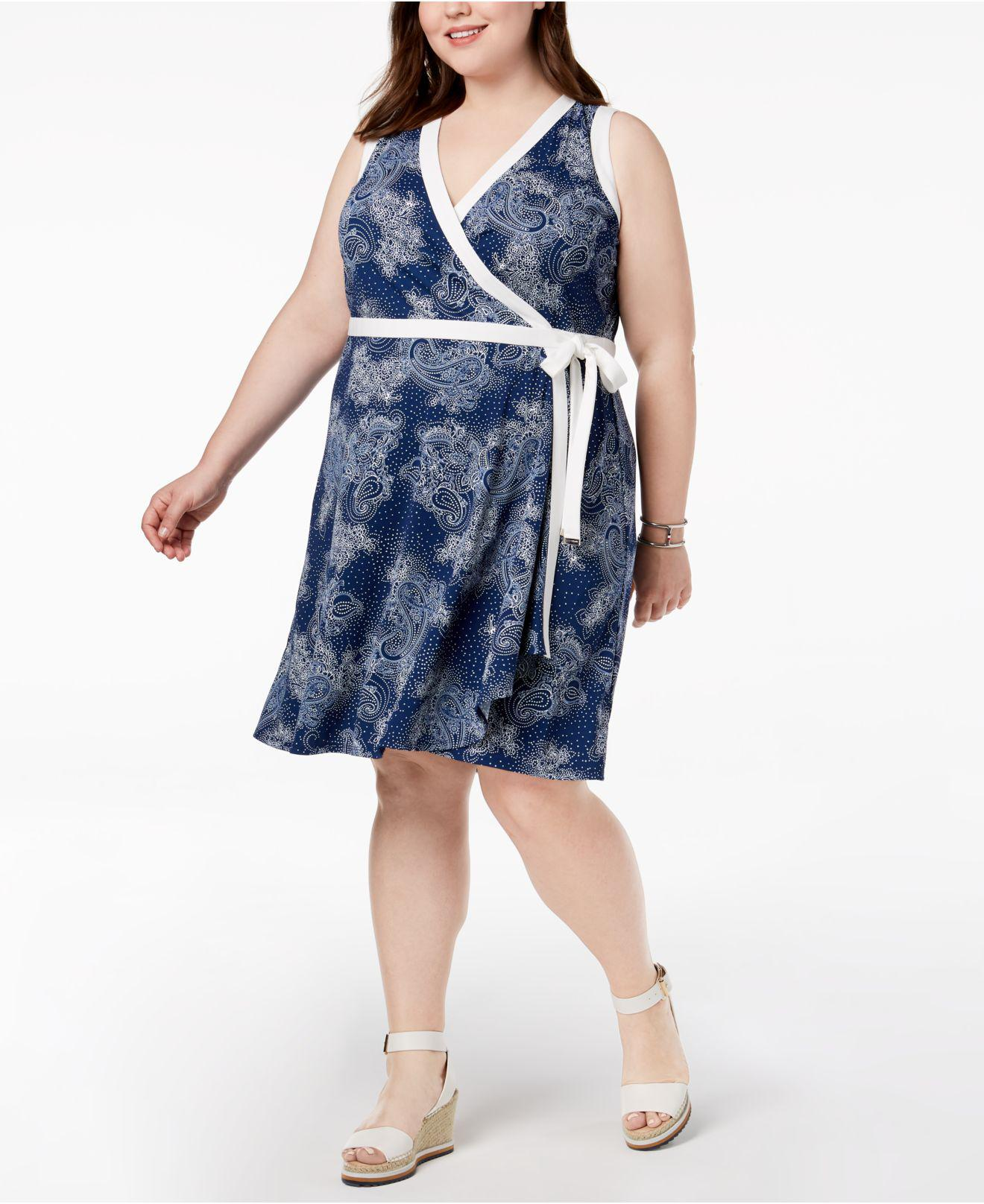 29f493333d1 Lyst - Tommy Hilfiger Plus Size Printed Sleeveless Wrap Dress ...