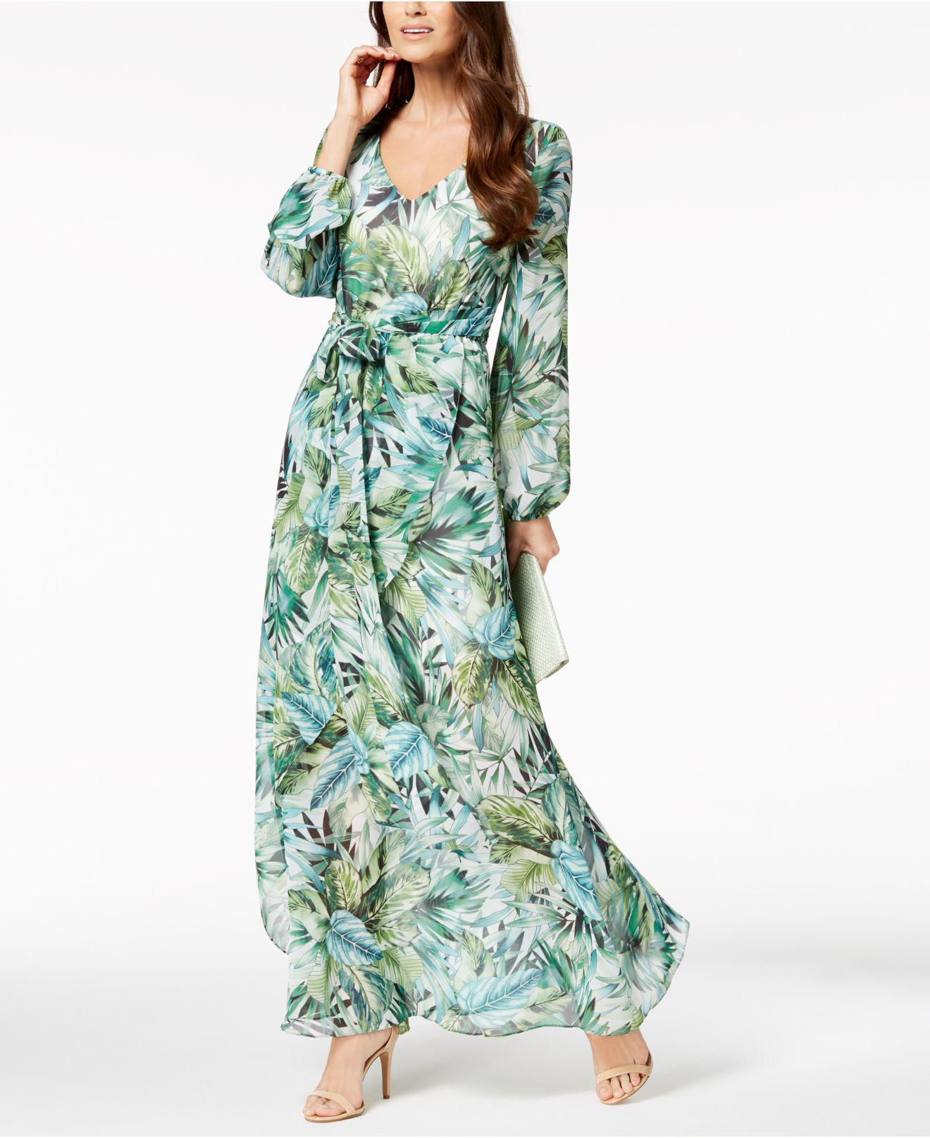 Lyst Nine West Printed Faux Wrap Maxi Dress Created For