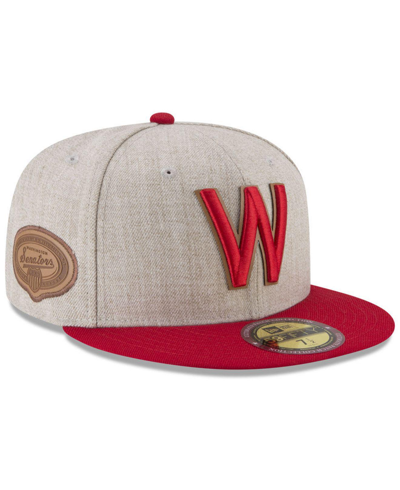 2519a6d24d03b6 KTZ. Men's Red Washington Senators Leather Ultimate Patch Collection  59fifty Fitted Cap
