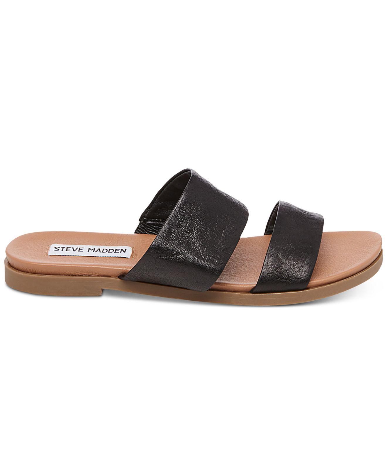 445a82c0fb64 Lyst - Steve Madden Women s Judy Flat Slide Sandals in Black