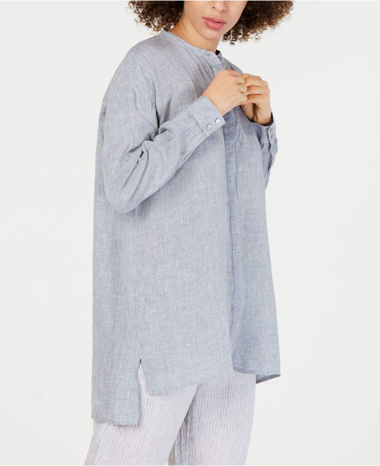 64004b60917 Eileen Fisher. Women's Organic Linen Mandarin-collar Shirt, Regular & Petite