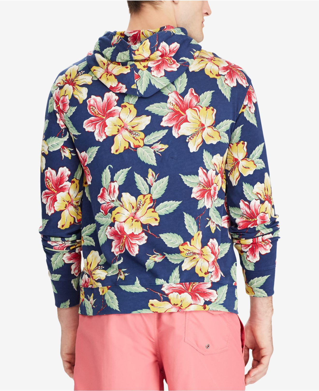 2423f33182fca ... coupon lyst polo ralph lauren mens floral print spa terry hoodie in blue  693f8 938e7 ...