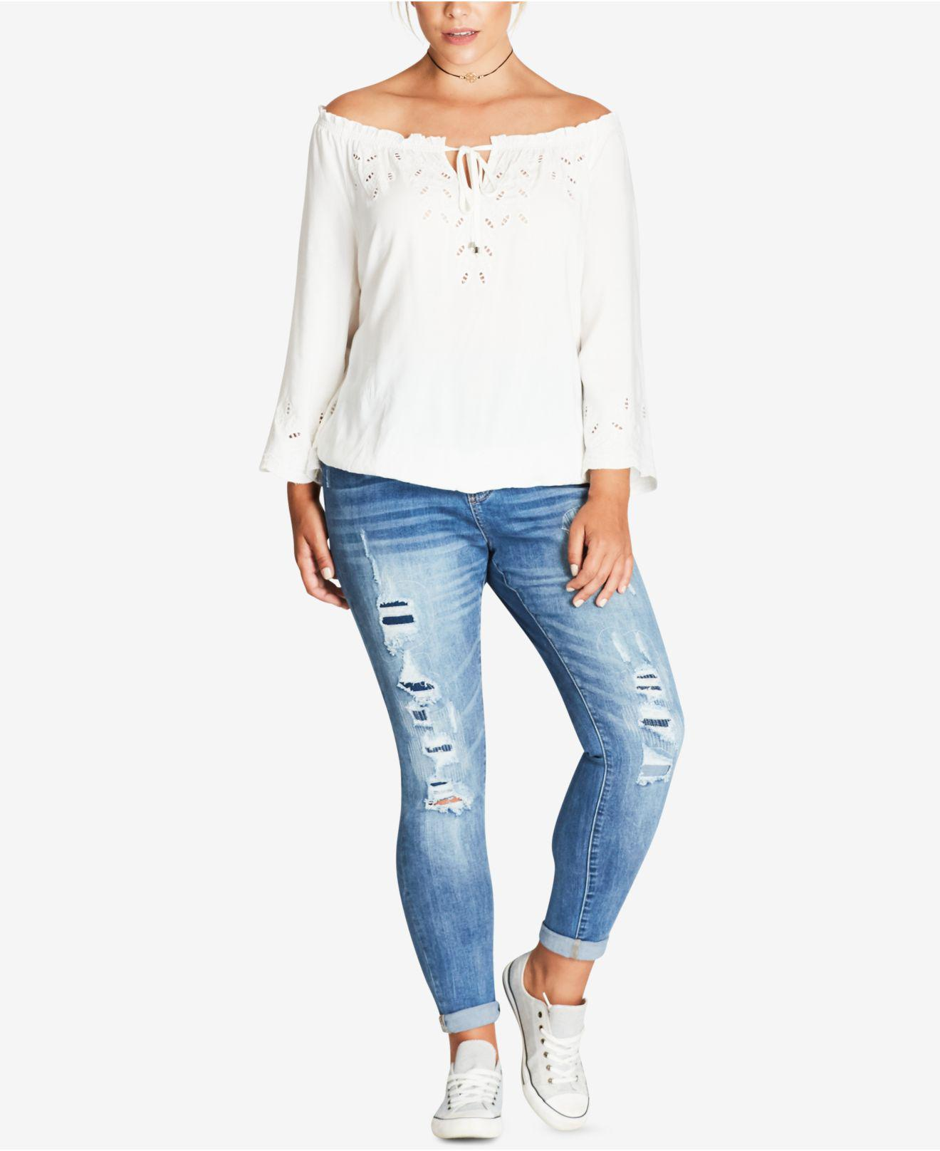 5a9e2451822 Lyst - City Chic Trendy Plus Size Off-the-shoulder Eyelet Top in White