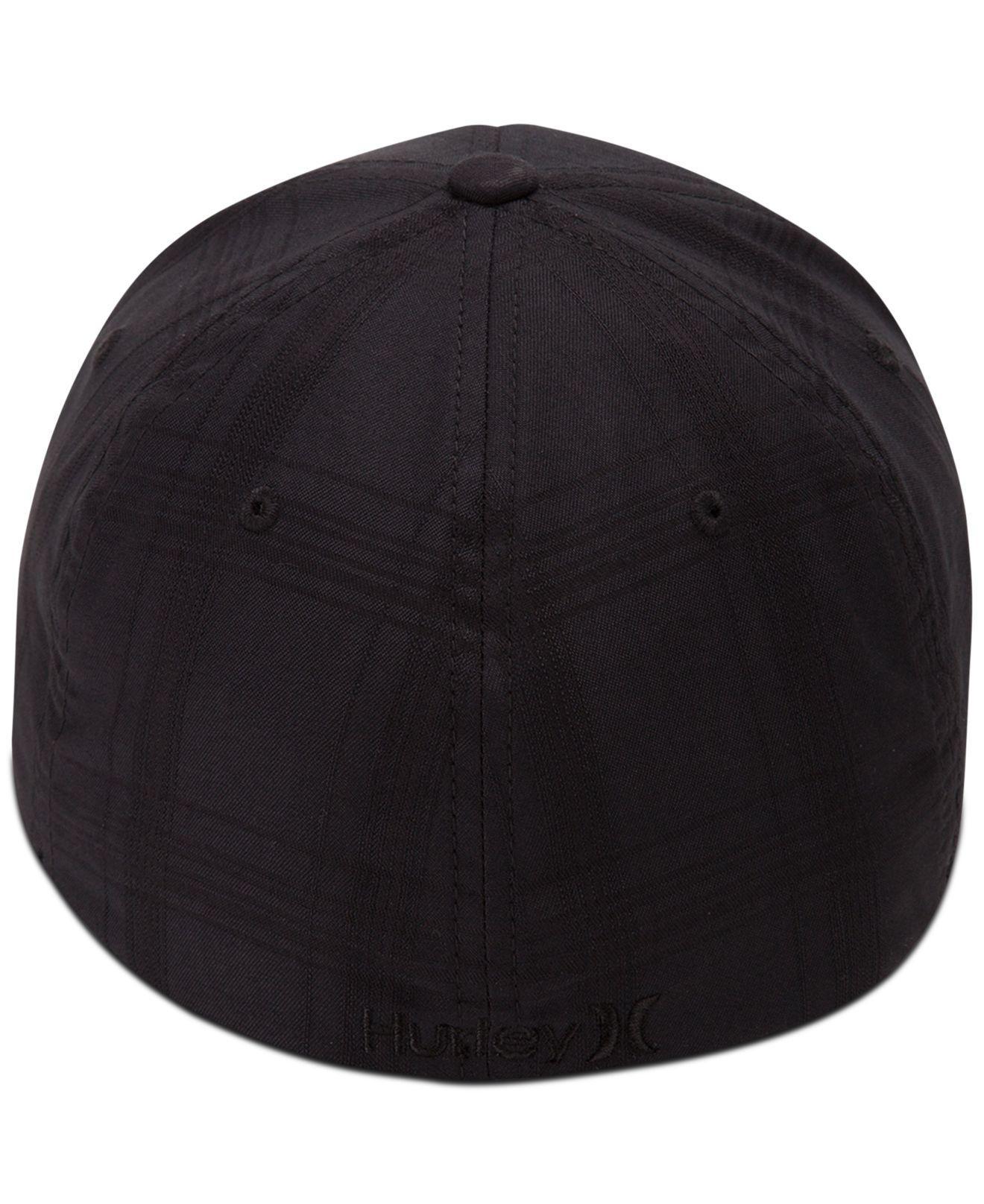 half off 7555c d03fc sweden lyst hurley mens textured plaid embroidered logo flexfit hat in black  for men 00889 22481