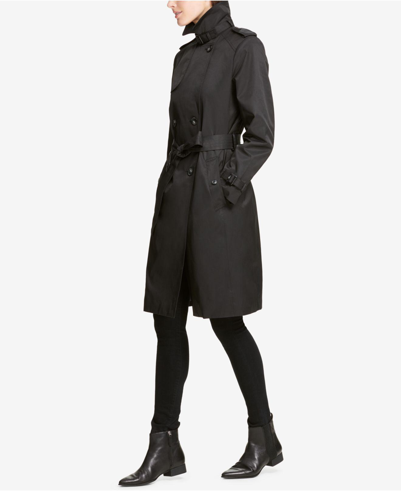 4af492f9814 Lyst - DKNY Double-breasted Belted Trench Coat in Black