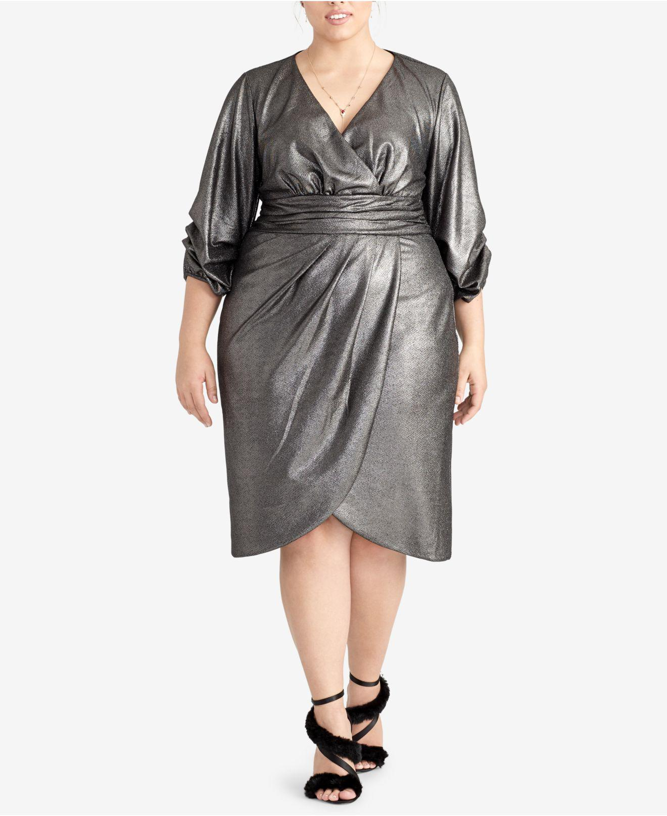 d40a7ed8558 Lyst - RACHEL Rachel Roy Trendy Plus Size Metallic Wrap Dress in ...