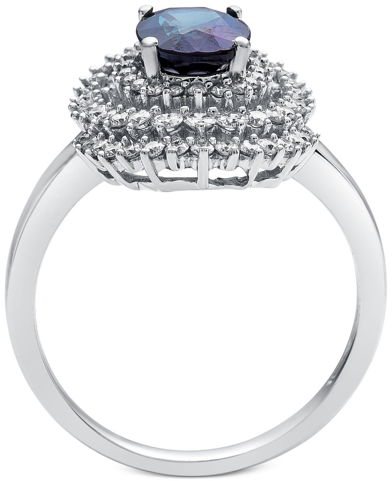 ff1b8d576 Lyst - Macy's Sapphire (1-1/3 Ct. T.w.) & Diamond (3/4 Ct. T.w.) Spiral  Statement Ring In 14k White Gold