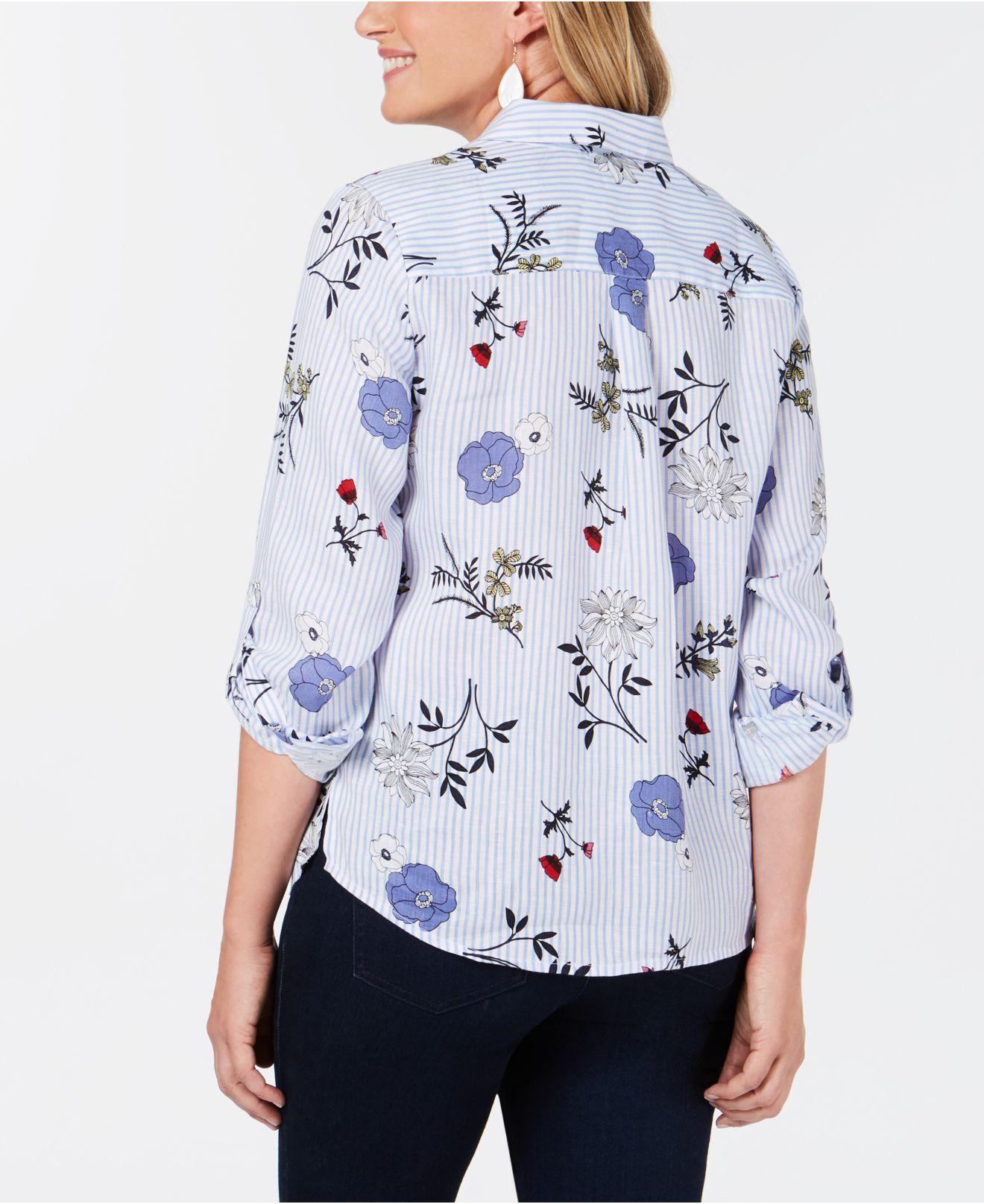 023f2aa6a857cc Lyst - Charter Club Petite Linen Printed Button-up Top