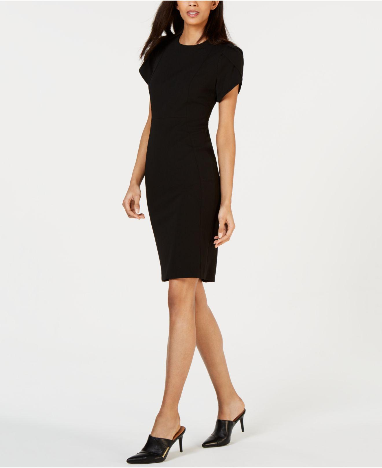 d5da4b83 Calvin Klein Petite Tulip Puff-sleeve Sheath Dress in Black - Lyst