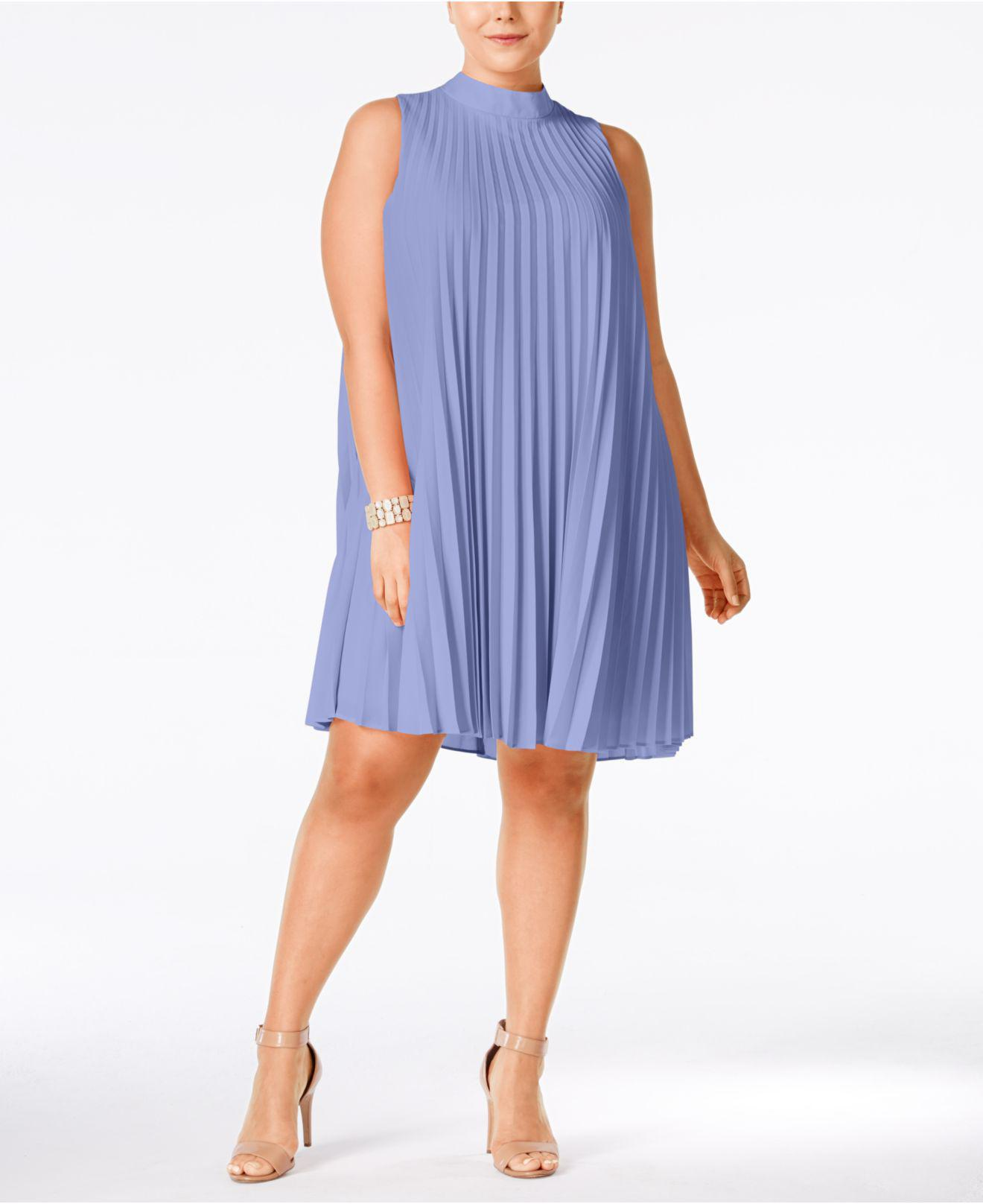 64f308f4195 Lyst - Soprano Plus Size High-neck Pleated Shift Dress in Blue