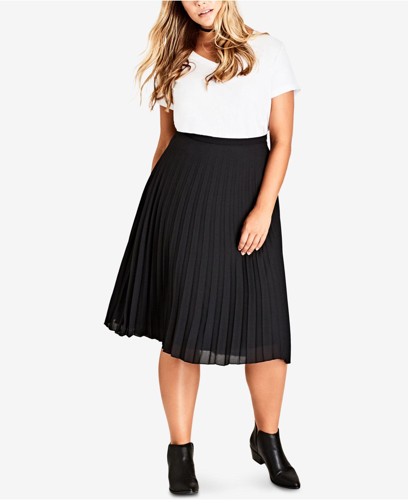 bf578ba32c9df Lyst - City Chic Trendy Plus Size Pleated Chiffon Skirt in Black