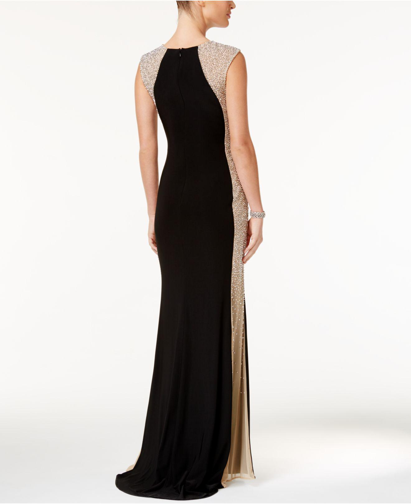 aaba8b83 Xscape - Black Petite Beaded Illusion Gown - Lyst. View fullscreen