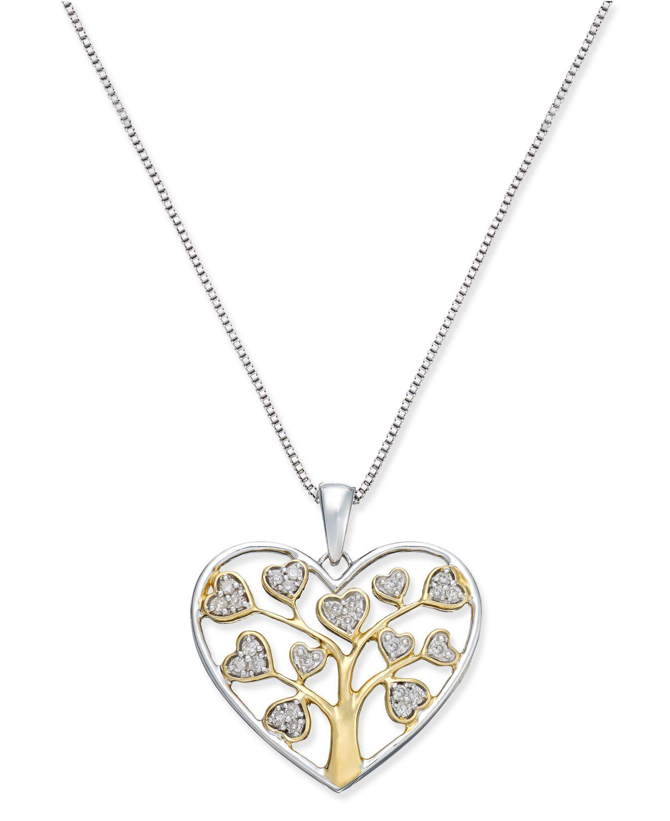 120f57536e8 Macy's Diamond Heart Tree Of Life Pendant Necklace (1/5 Ct. T.w.) In ...
