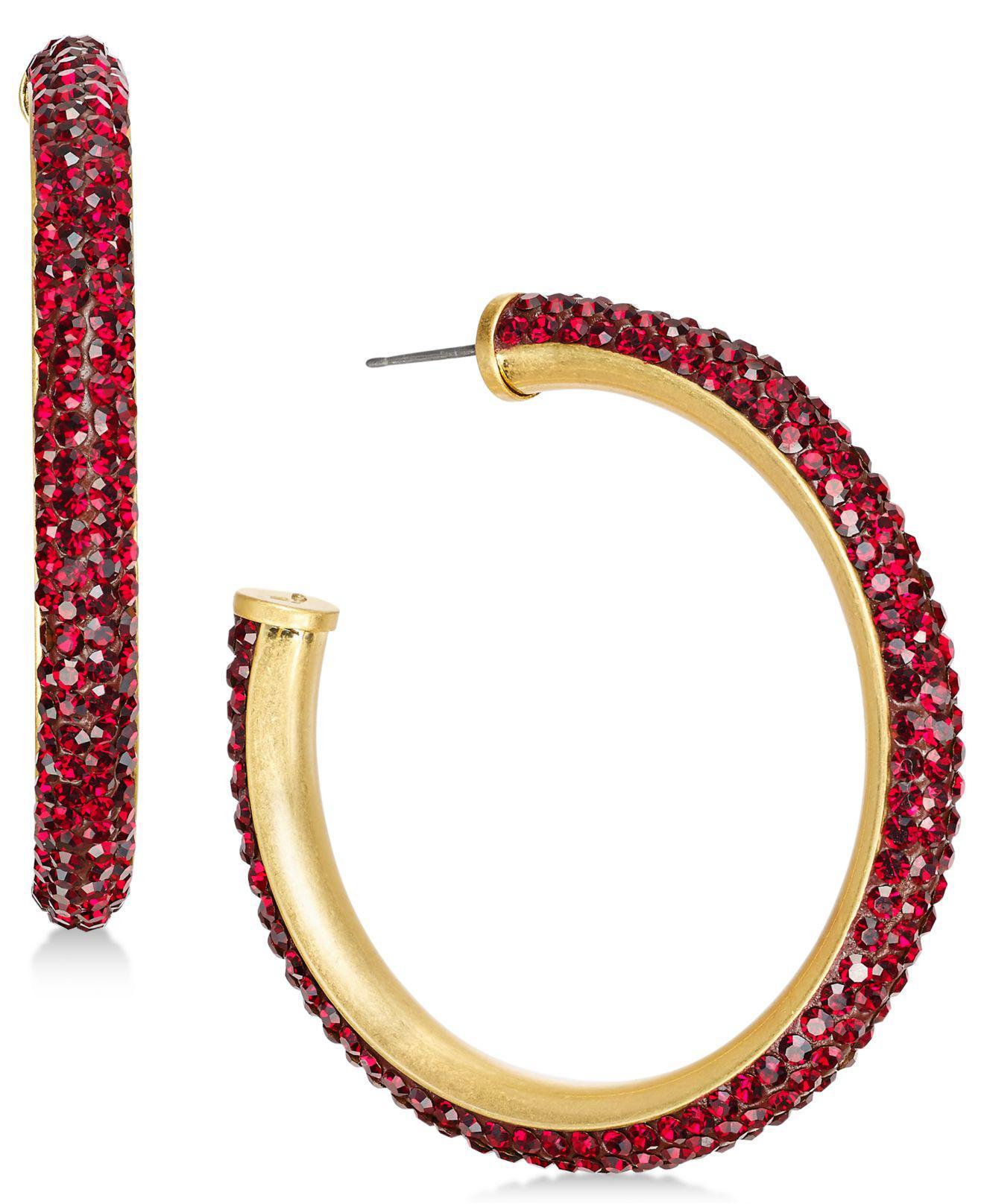 9a8a736828cd2 Lyst - Kate Spade Crystal Hoop Earrings in Red