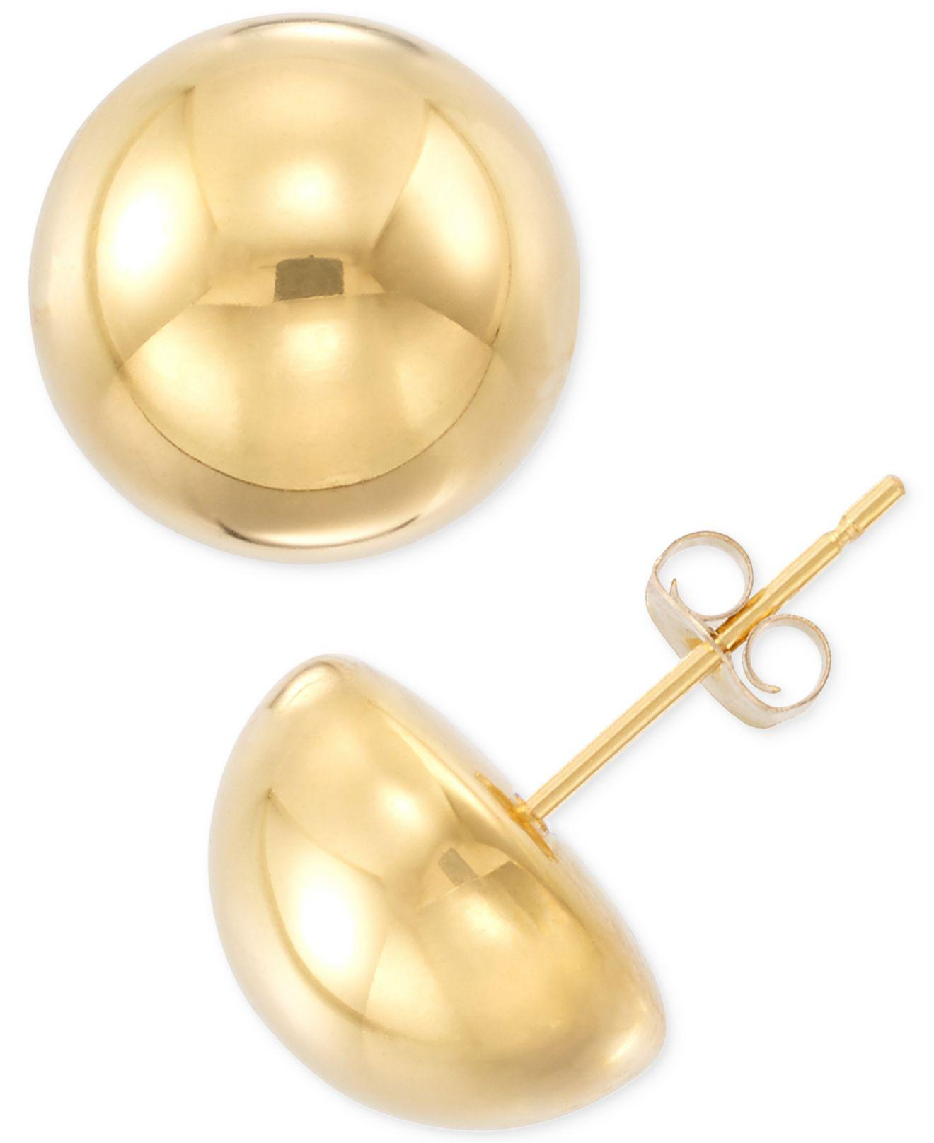 Lyst Signature Gold Half Sphere Stud Earrings In 14k Gold Or White