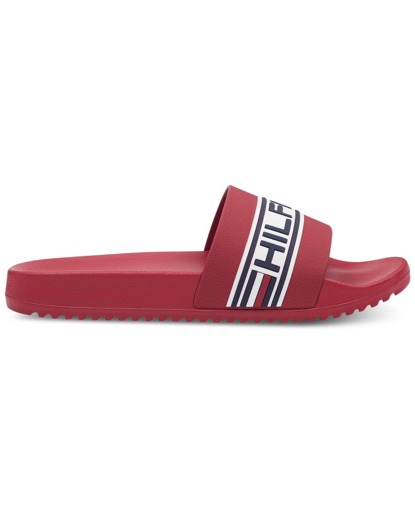 657391db6e6 Lyst - Tommy Hilfiger Rustic Slide Sandals in Red for Men