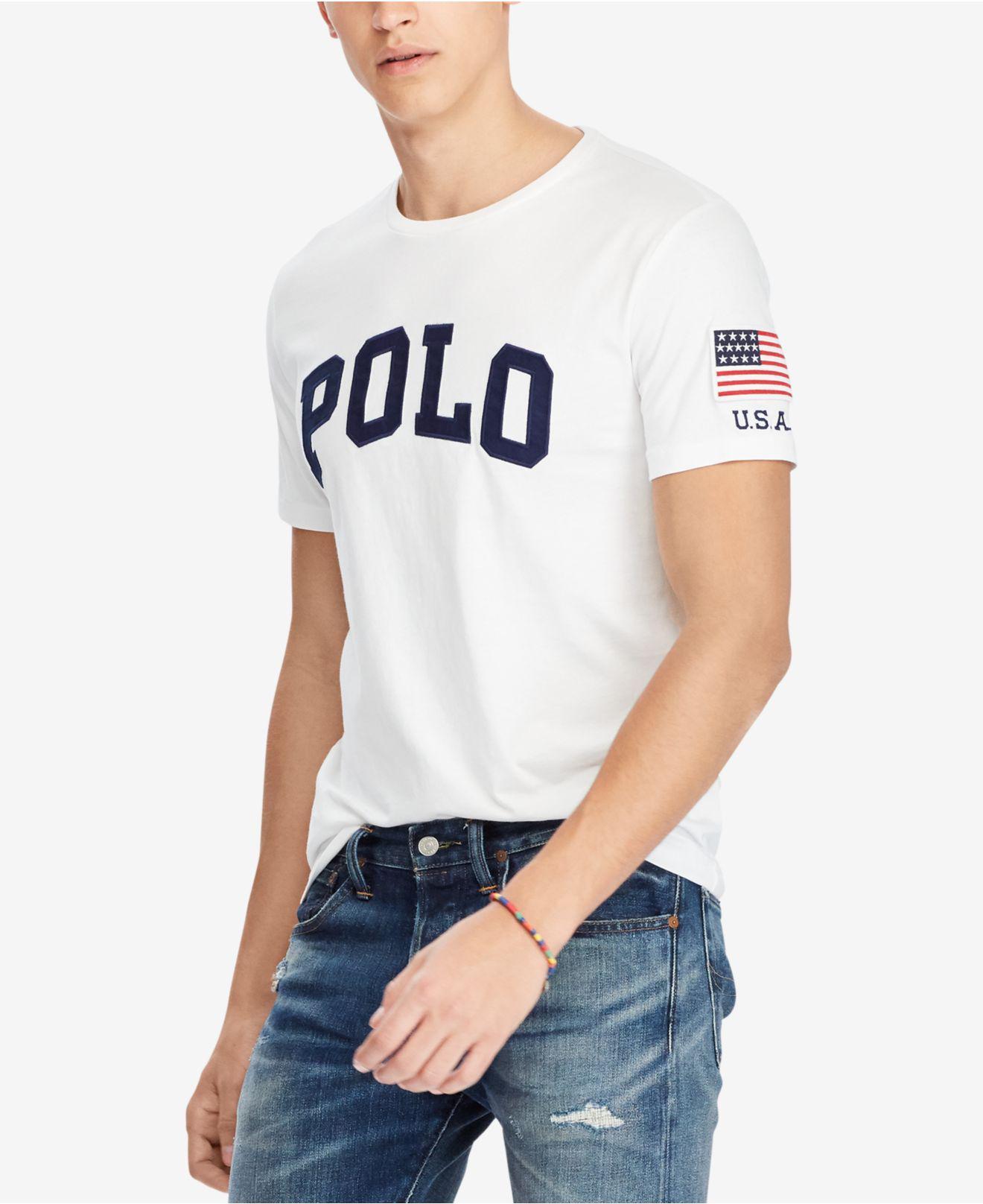 fef30b026452 Lyst - Polo Ralph Lauren Men s Custom Slim Fit Logo-print T-shirt in ...