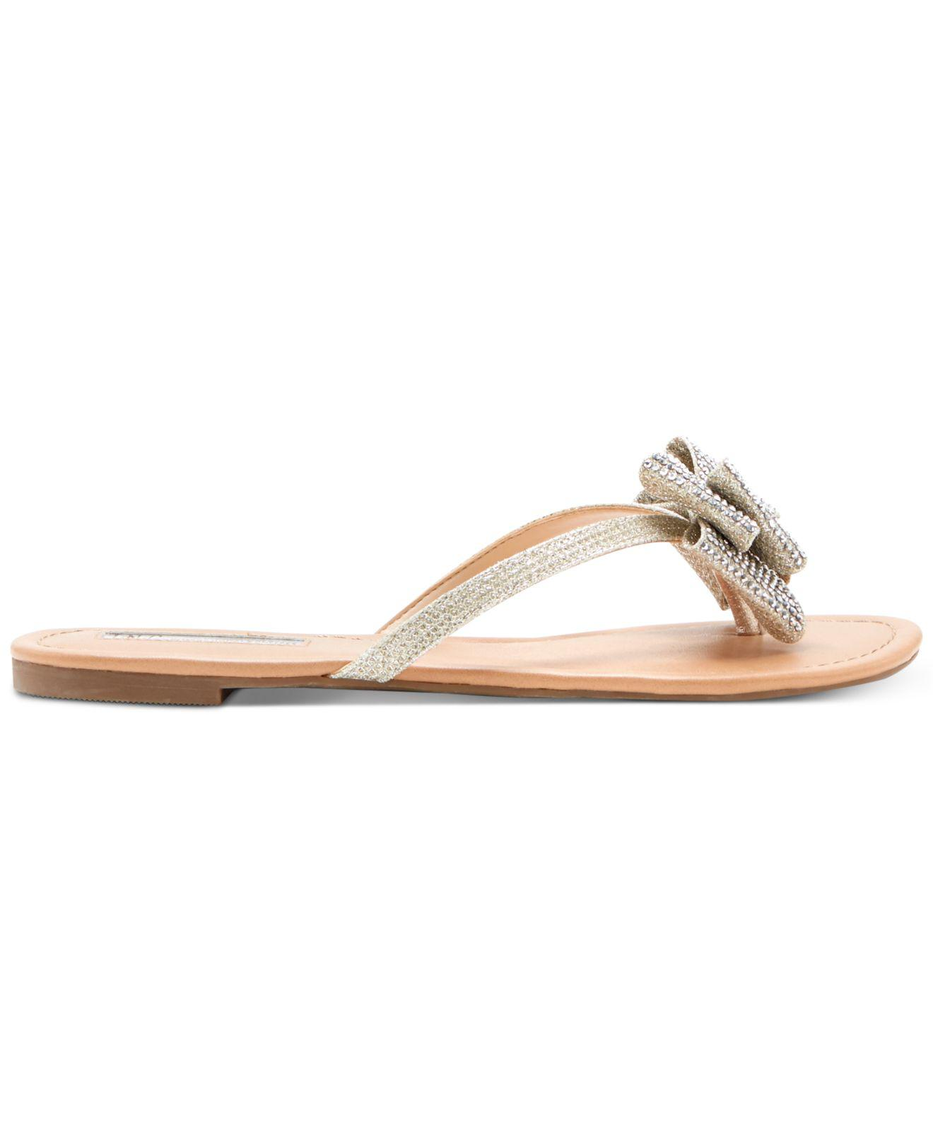 bdd54930389e6f INC International Concepts Women s Mabae Bow Flat Sandals - Save 16% - Lyst