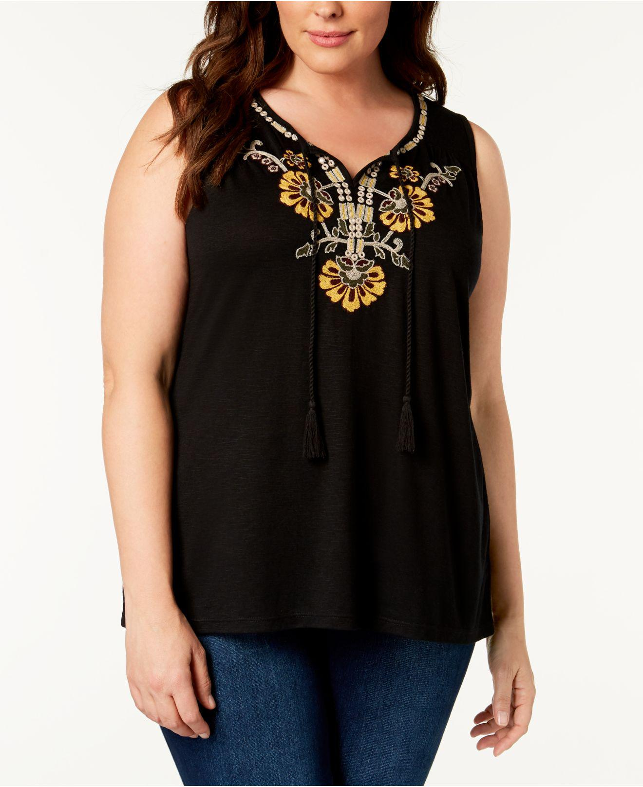 d52c7a41728fa Lyst - Style   Co. Plus Size Embroidered Sleeveless Peasant Top ...