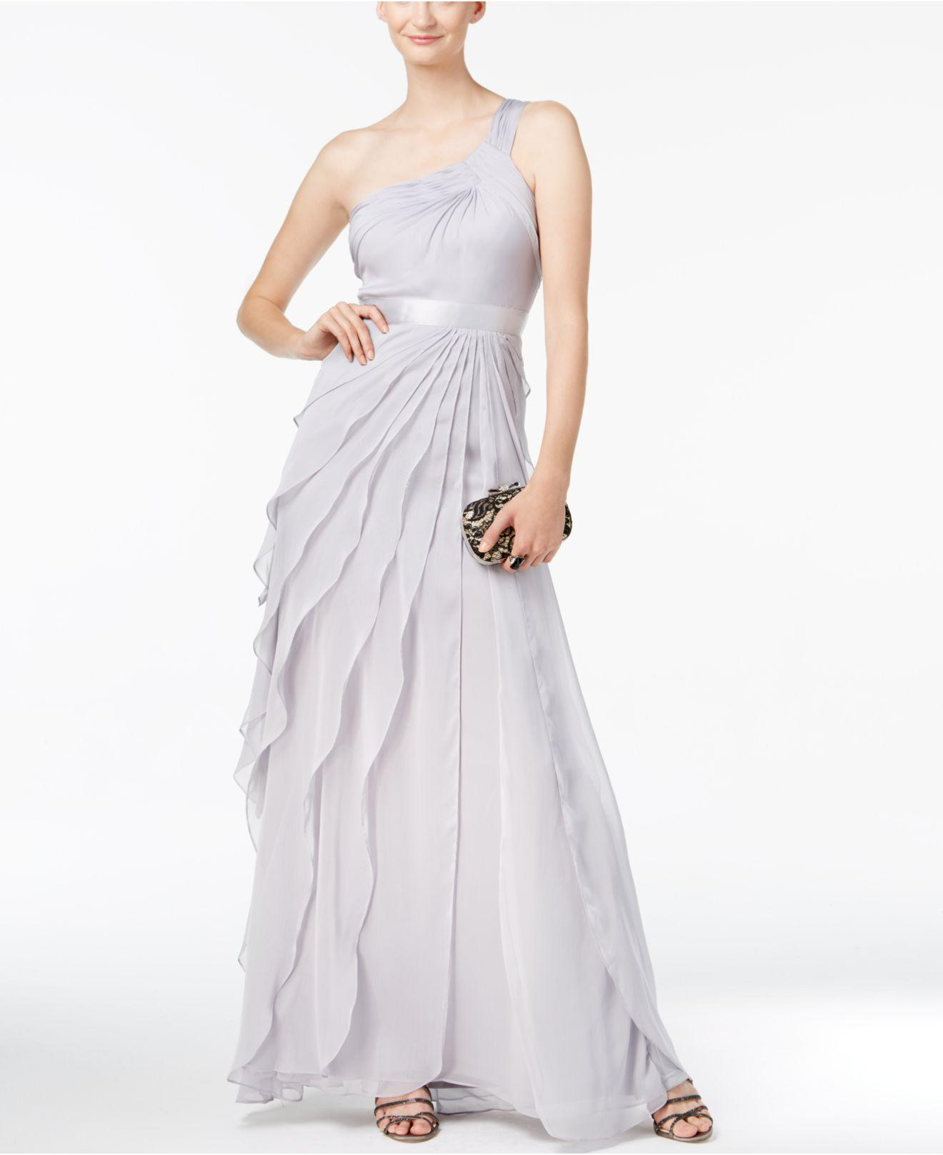 Lyst - Adrianna Papell One-shoulder Tiered Chiffon Gown in Metallic