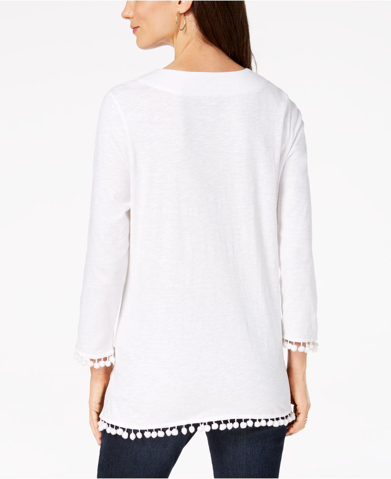 f135b34e52b Lyst - Charter Club Cotton Embroidered Pom-pom Top, Created For Macy's in  White