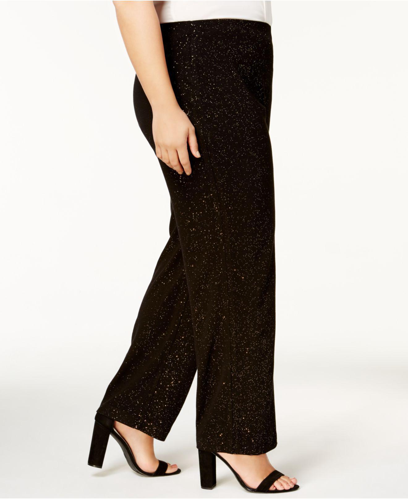 0824e36d6aeac7 Alfani Plus Size Wide-leg Glitter Pants in Black - Lyst