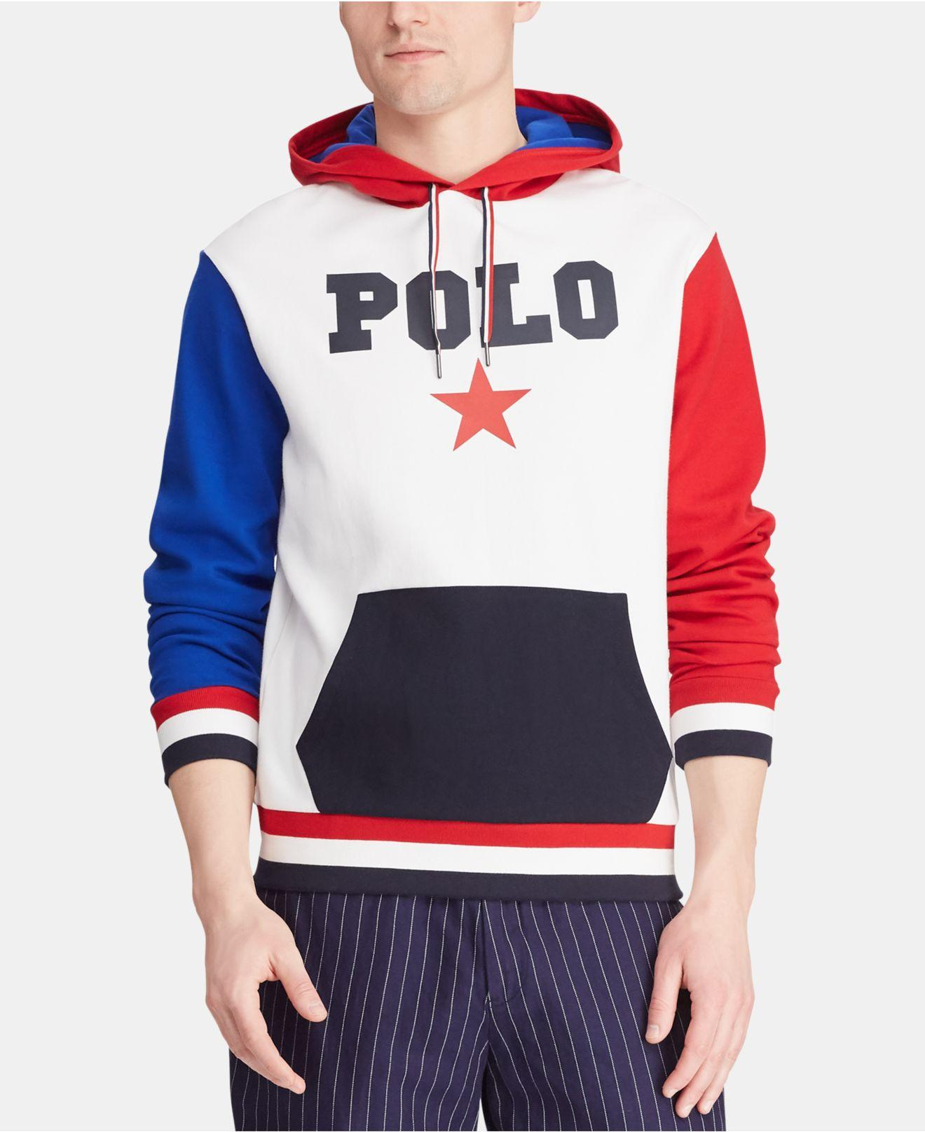 41872ede9 Polo Ralph Lauren. Men's Blue Big & Tall Star-print Double-knit Americana  Hoodie