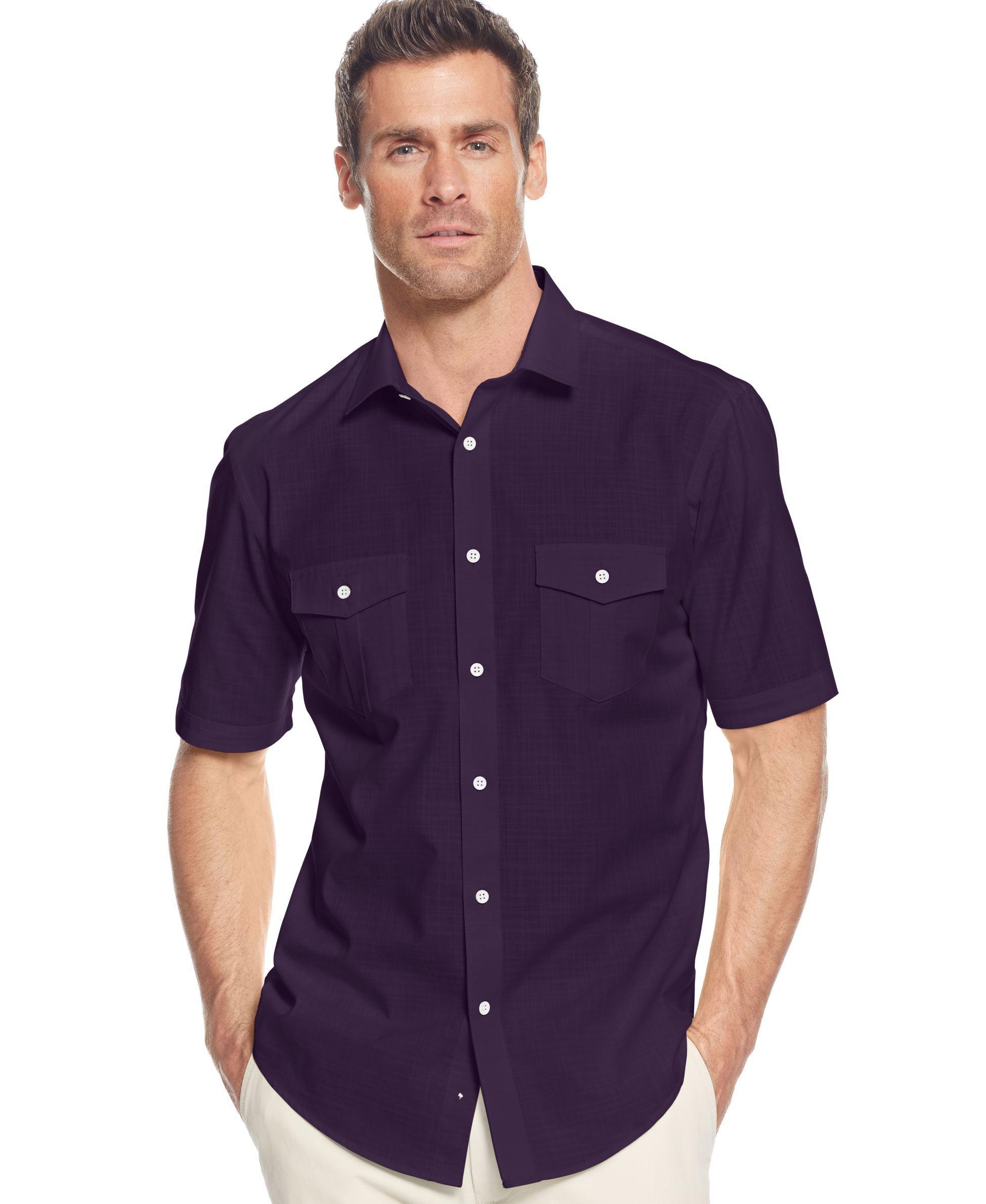 Alfani big and tall short sleeve warren shirt for men lyst for Dress shirts for big and tall