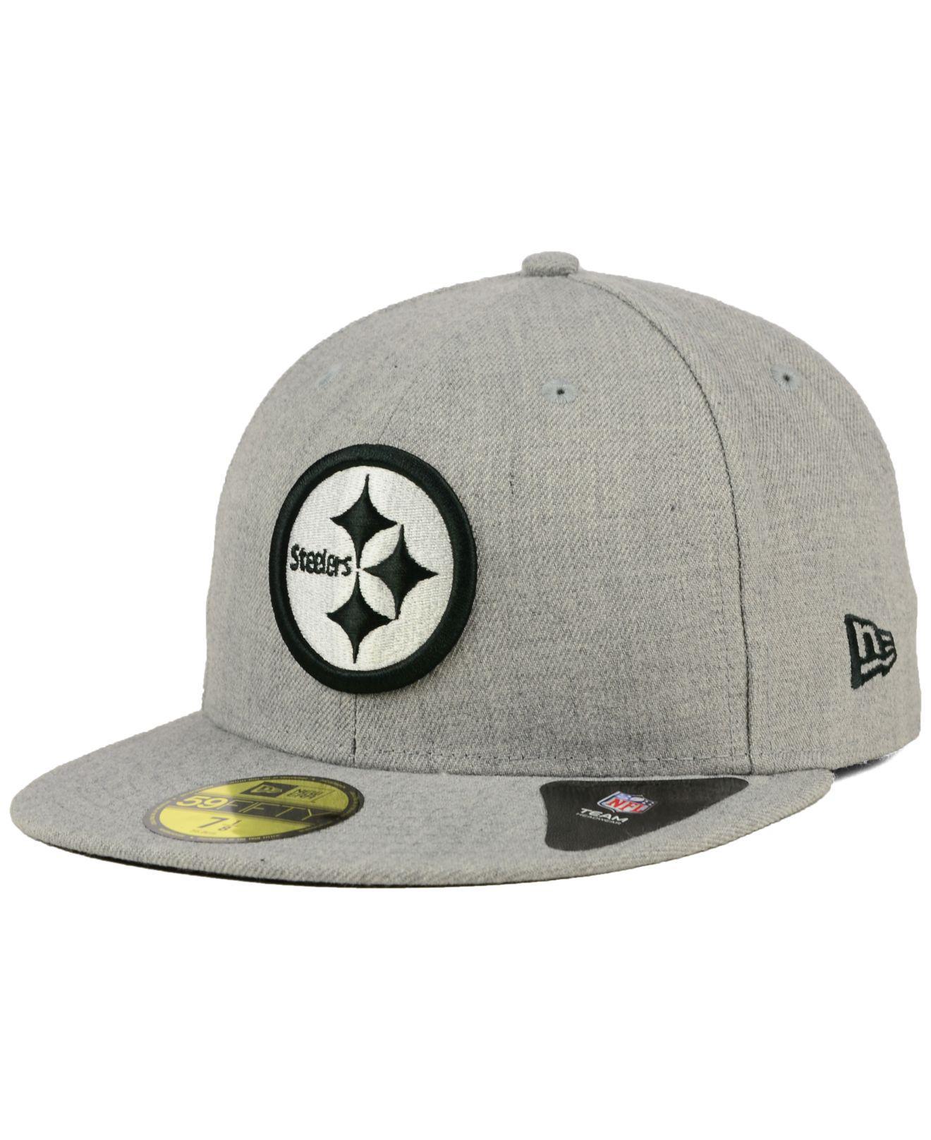 Lyst - Ktz Pittsburgh Steelers Heather Black White 59fifty Cap in ... 28dd014da