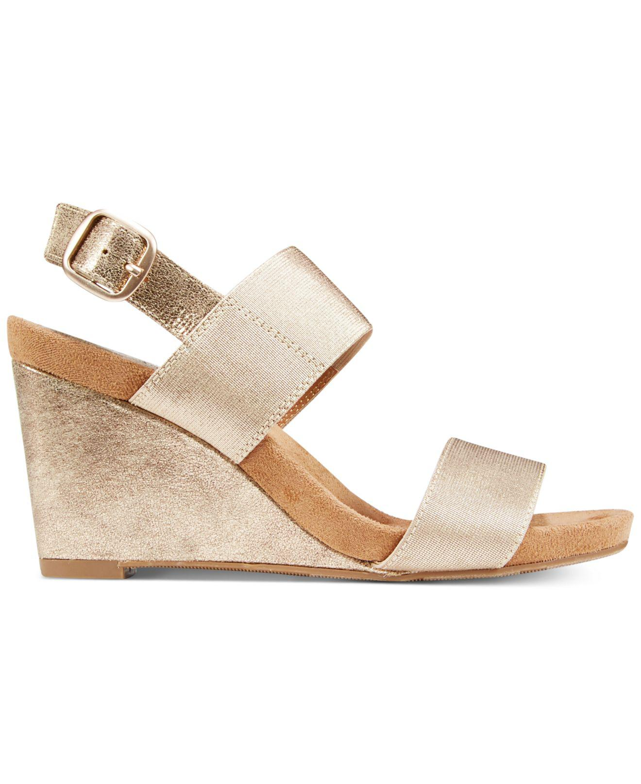 81cee870bd9 Lyst - Style   Co. Fillipi Wedge Sandals in Metallic