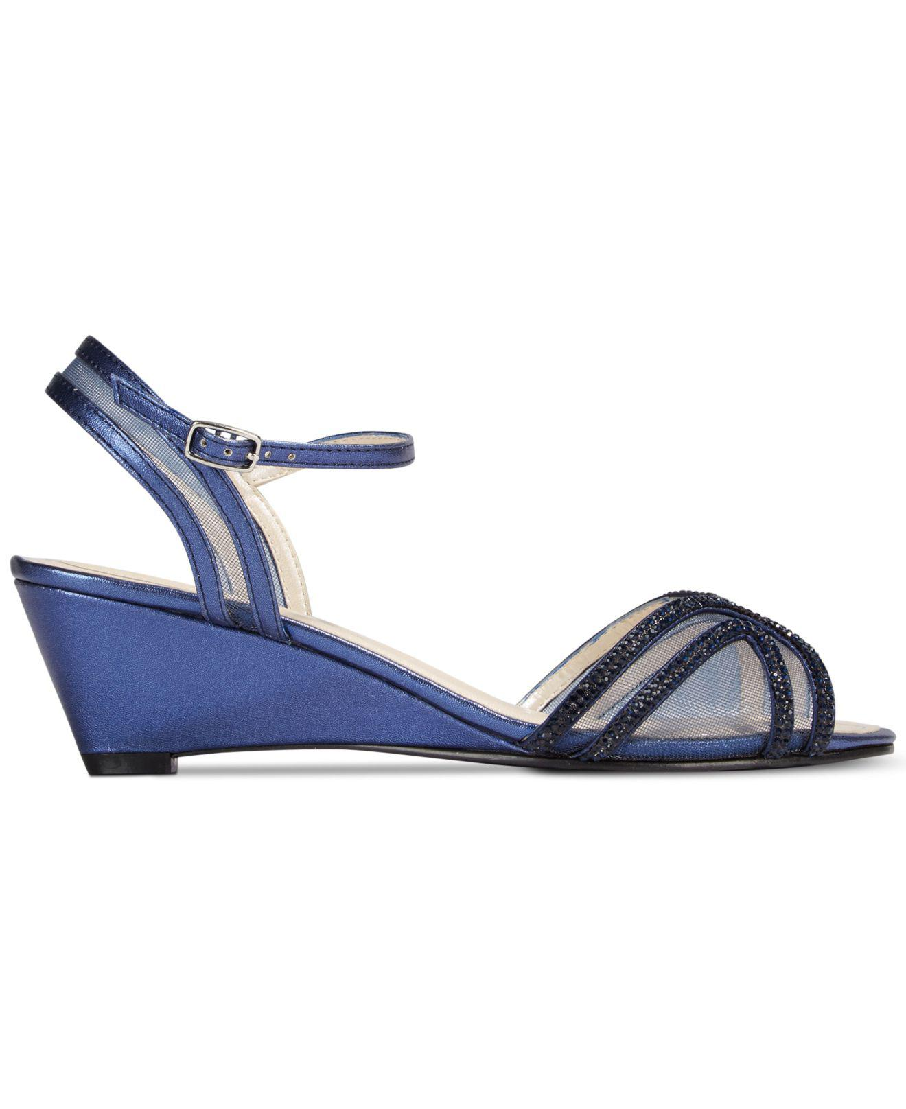 d9e65c32d11 Lyst - Caparros Hilton Strappy Evening Wedge Sandals in Blue