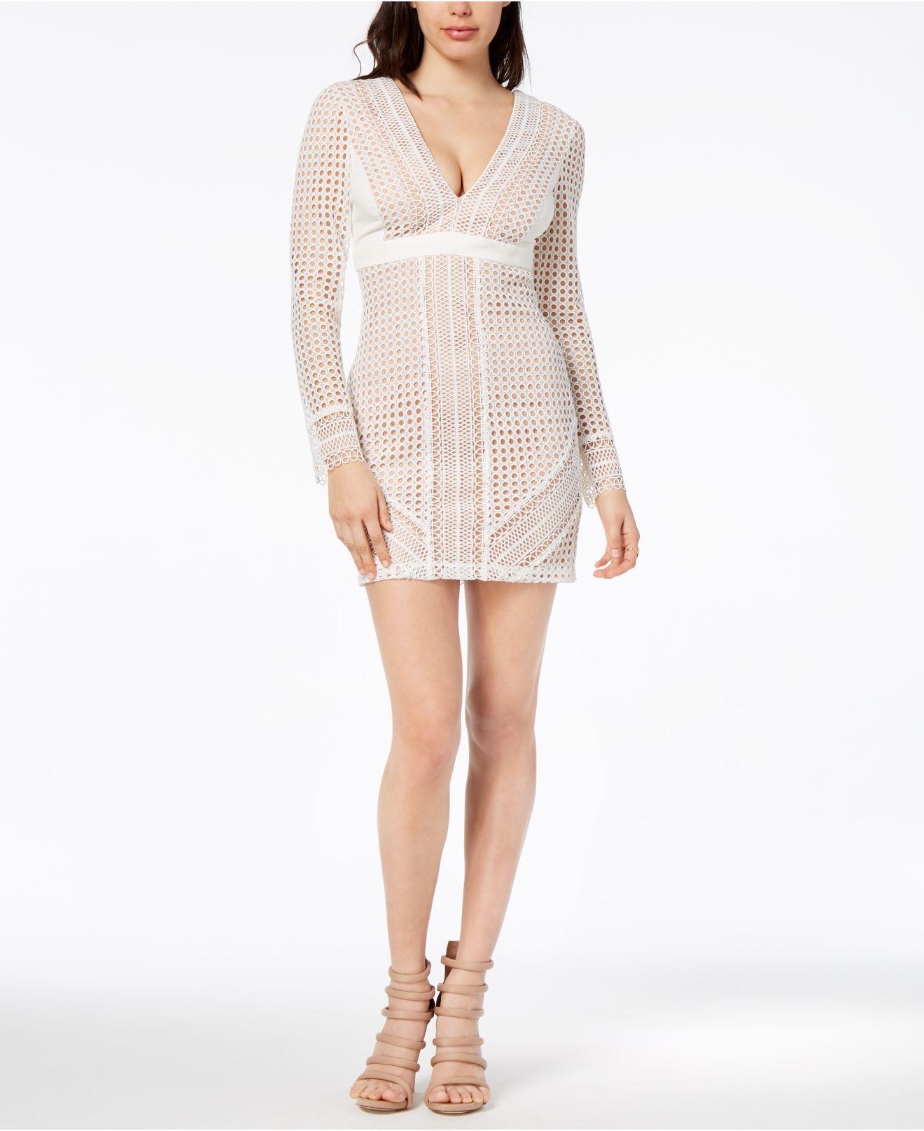 24def5e208 Lyst - Bardot Long-sleeve Lace Sheath Dress in White
