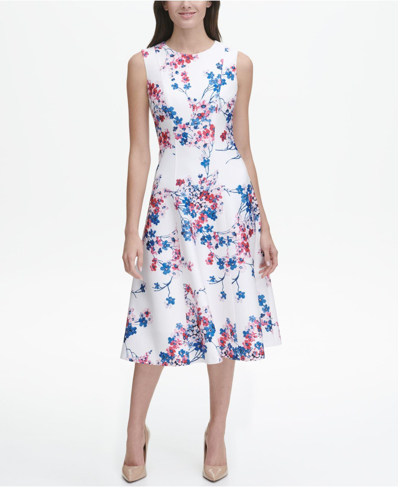 59653049dd90 Lyst - Tommy Hilfiger Eloise Floral Sleeveless Scuba Fit And Flare ...