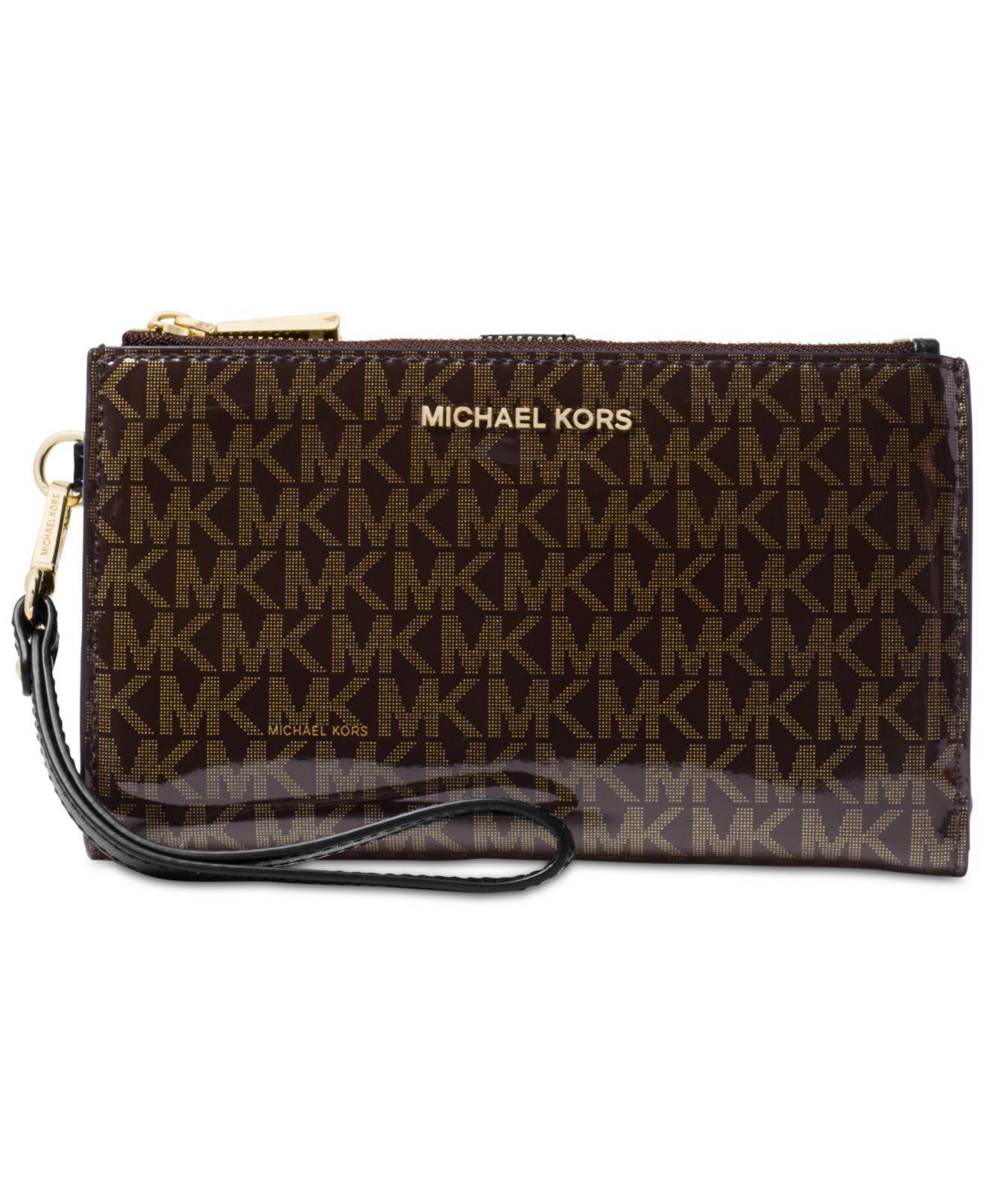 e99e2b12a5ccc Michael Kors - Brown Michael Signature Glossy Adele Double-zip Wristlet