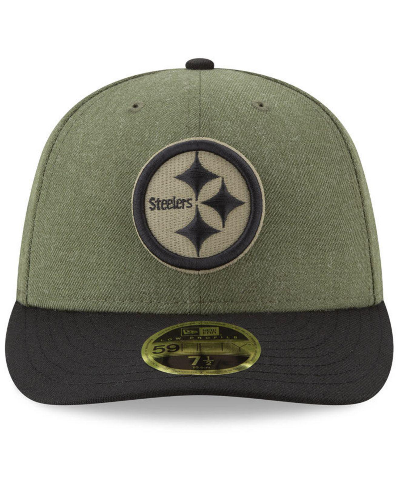 separation shoes a72a4 700eb KTZ Pittsburgh Steelers Salute To Service Low Profile 59fifty Fitted Cap  2018 in Green for Men - Lyst