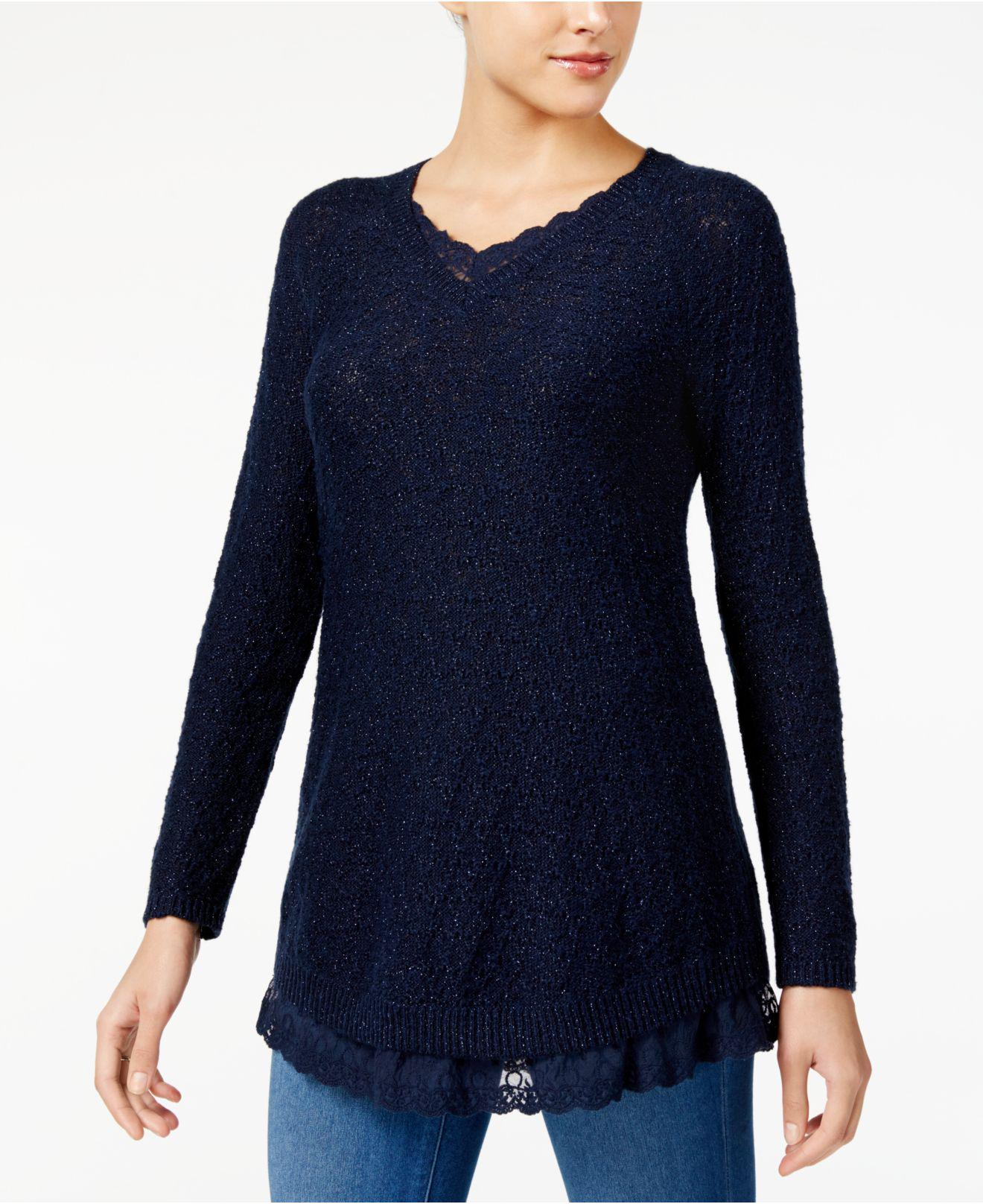 Style & co. Petite Lace-trim Tunic Sweater in Blue | Lyst
