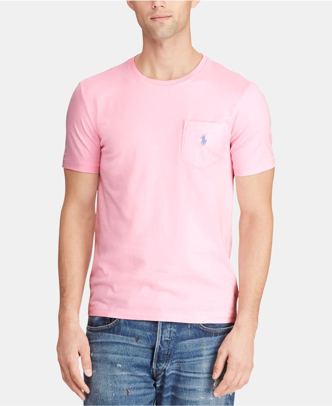 719f060e6 Lyst - Polo Ralph Lauren Classic Fit Pocket Cotton T-shirt in Pink ...