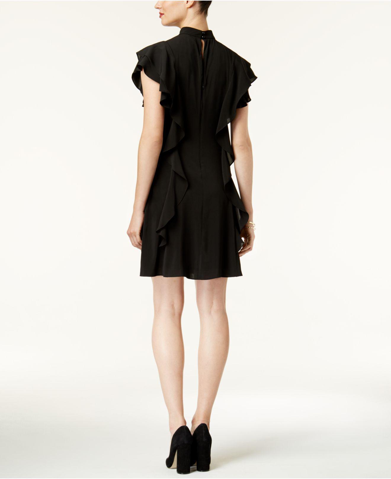 44e6ae66bba694 Lyst - Julia Jordan Flutter-sleeve Mock-neck Dress in Black