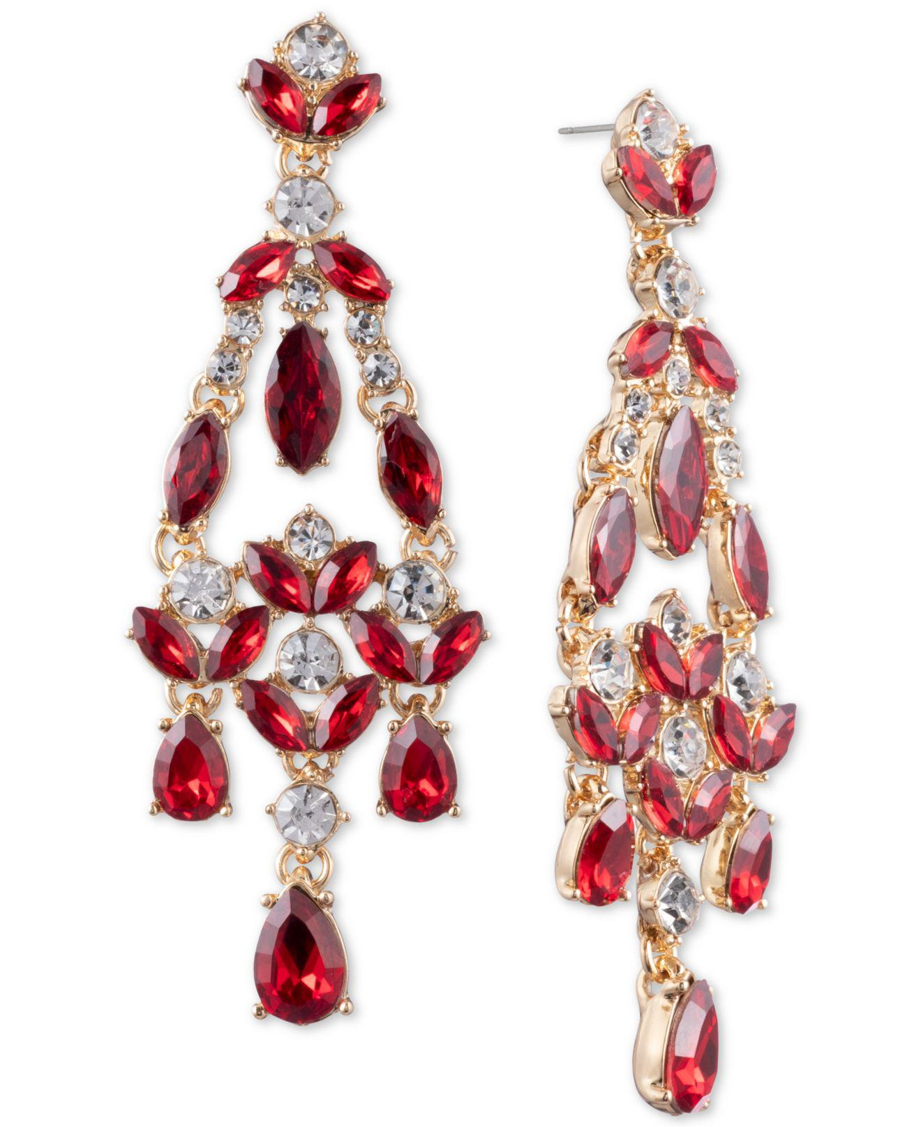 bae76d392d1da Anne Klein Gold-tone Stone And Crystal Chandelier Earrings in ...