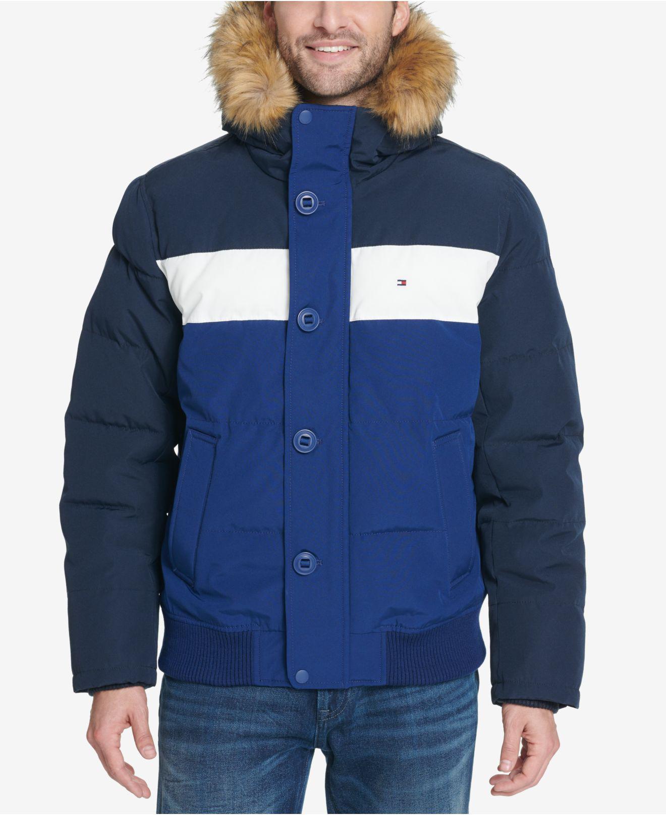c60699194f324 Tommy Hilfiger. Men s Blue Short Colorblocked Parka With Faux-fur Trimmed  Hood
