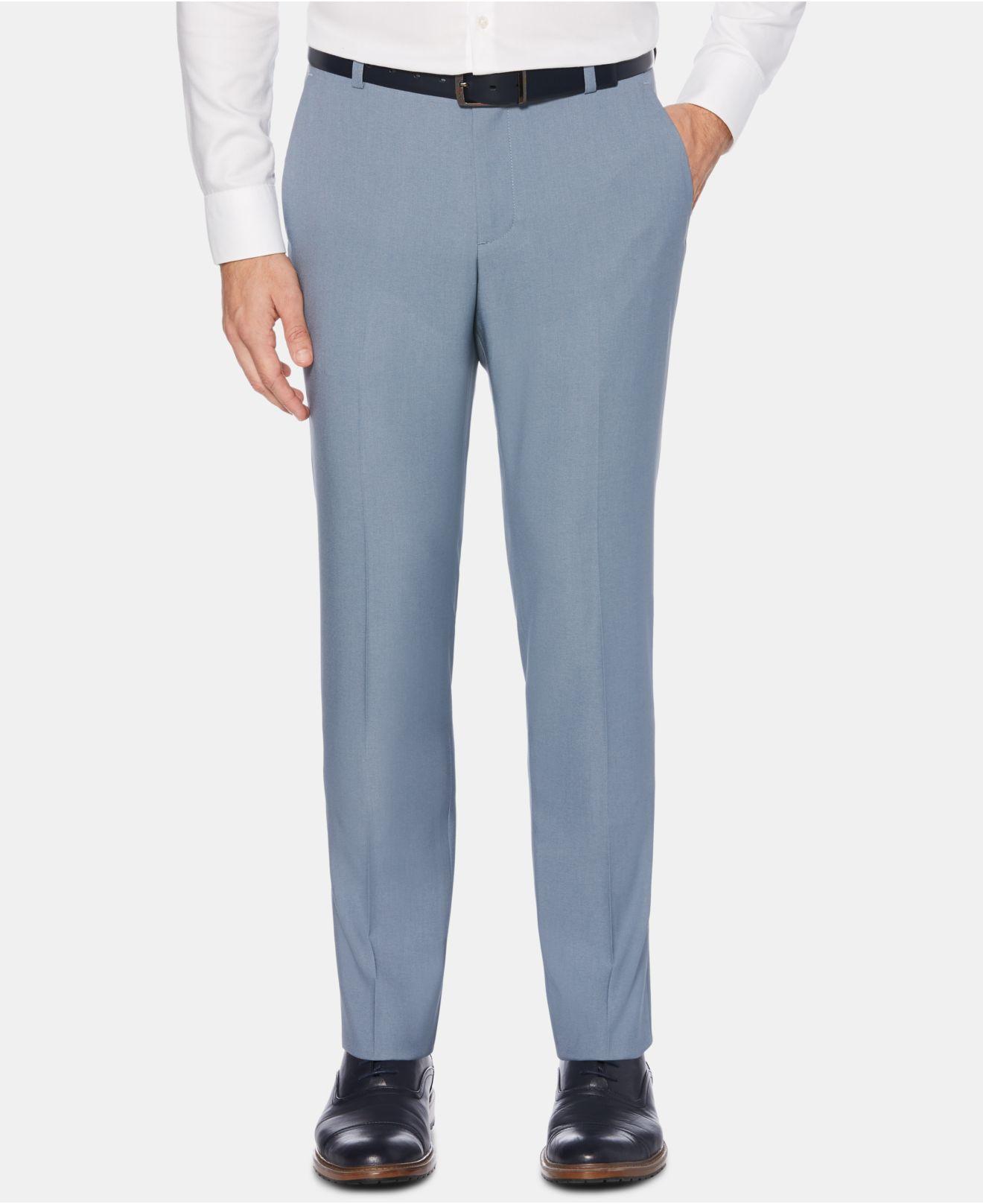 45c40d30d920 Perry Ellis. Men s Blue Portfolio Extra-slim Fit Performance Stretch  Heather Non-iron Dress Pants