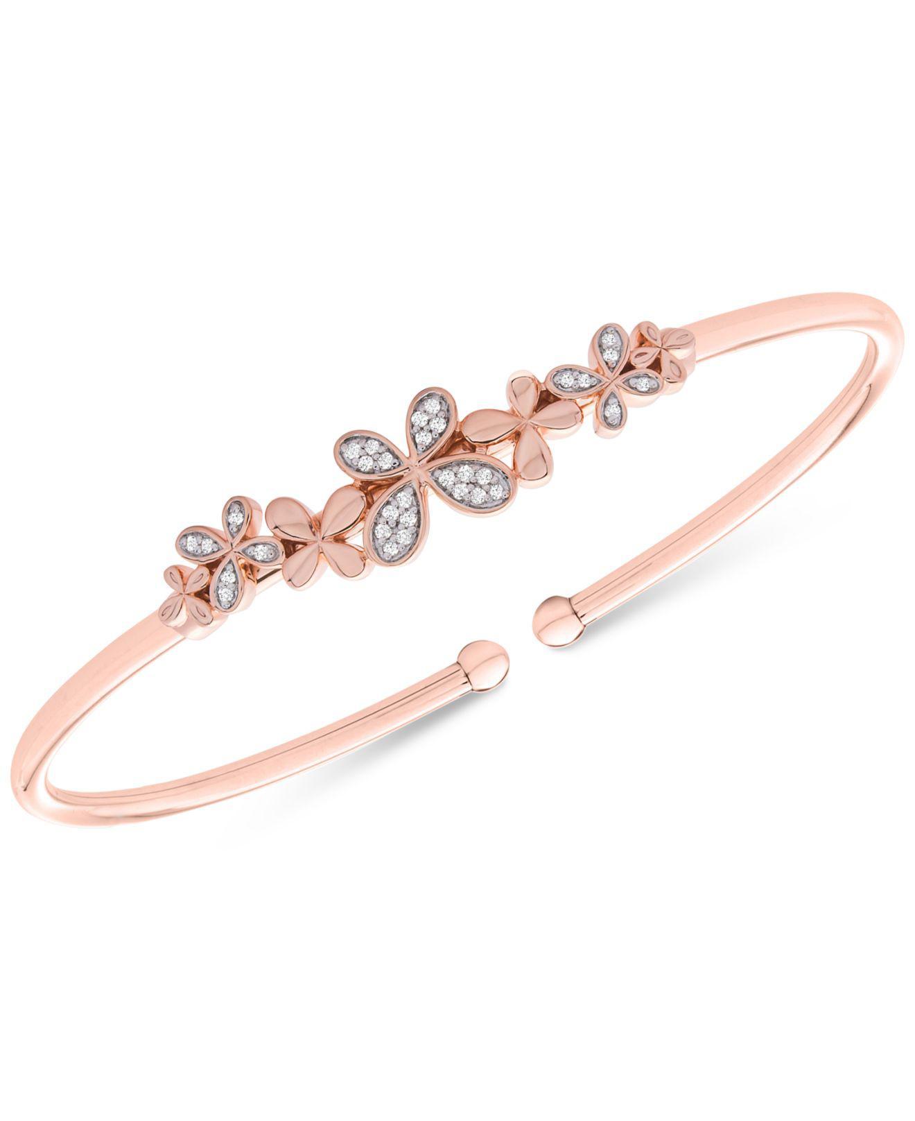 8b6d4af19e0 Wrapped in Love. Women's Tm Diamond Butterfly Flexie Bangle Bracelet (1/6  Ct. T.w.) In 14k Rose Gold-plated Sterling Silver ...